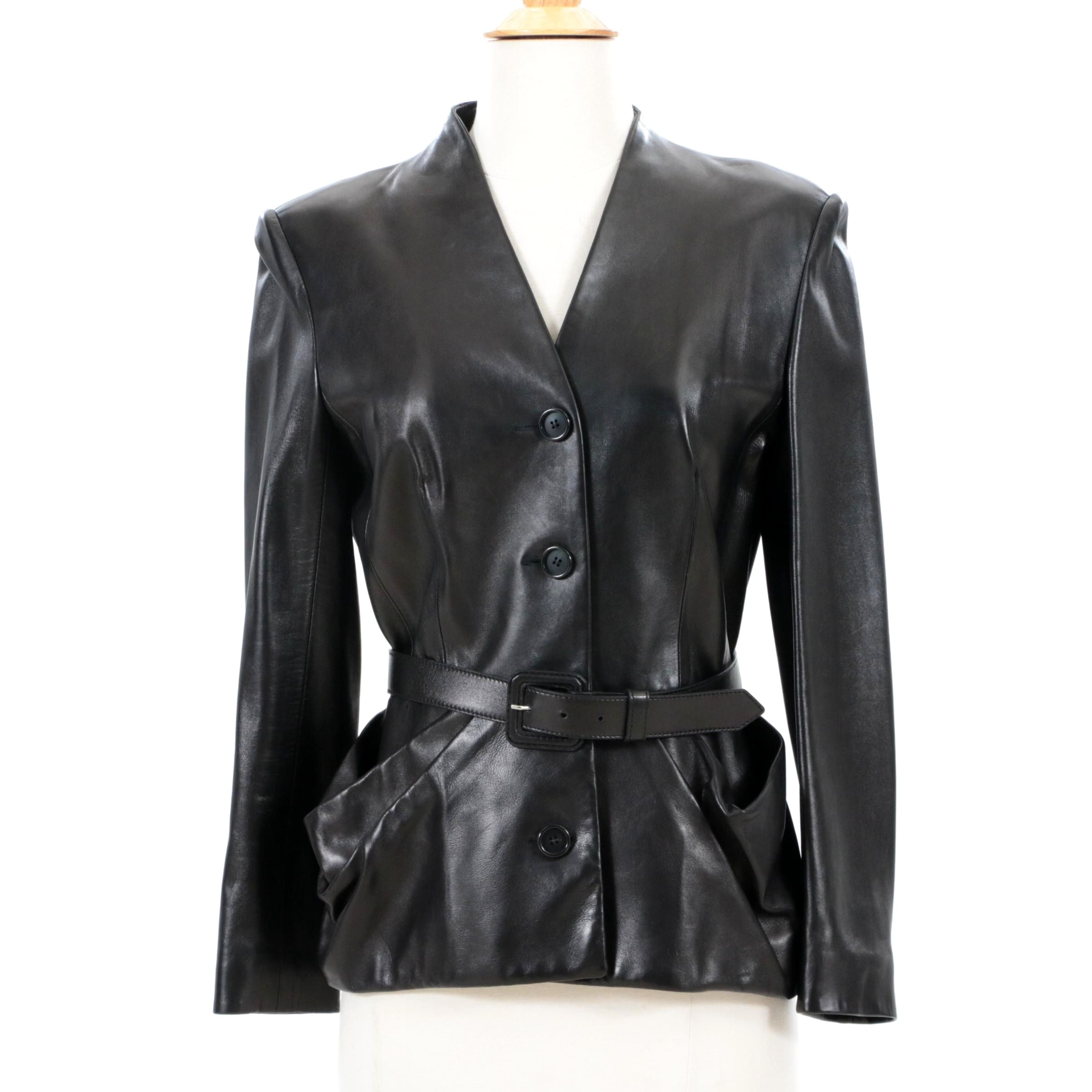 Christian Dior Paris Black Lambskin Leather Jacket with Matching Belt