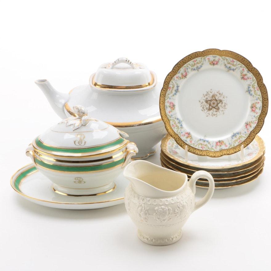 Homer Laughlin Teapot, Limoges Dessert Plates and More, Vintage