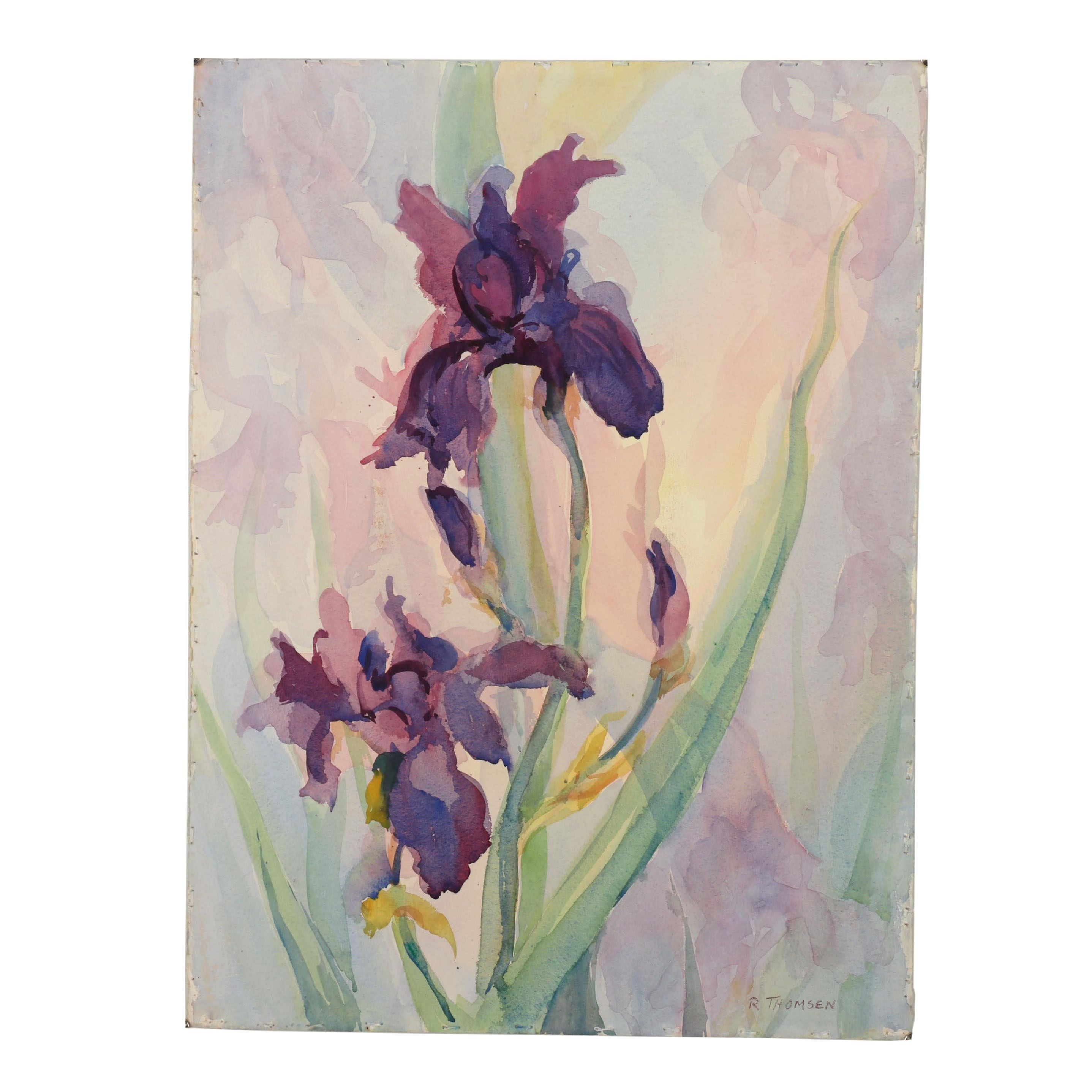 Richard Thomsen Watercolor Painting of Irises