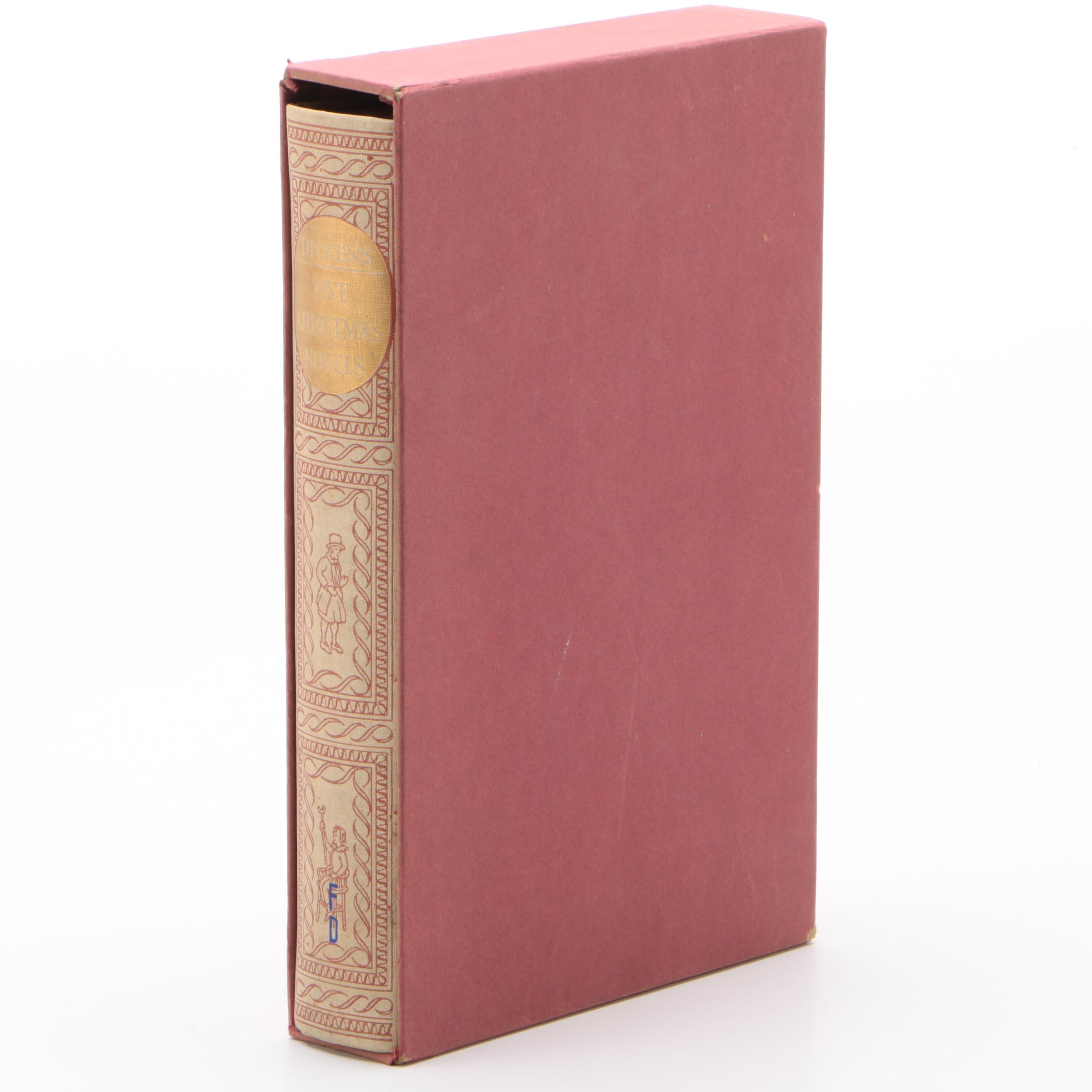 """Heritage Press Edition """"Five Christmas Novels"""" by Charles Dickens, 1939"""