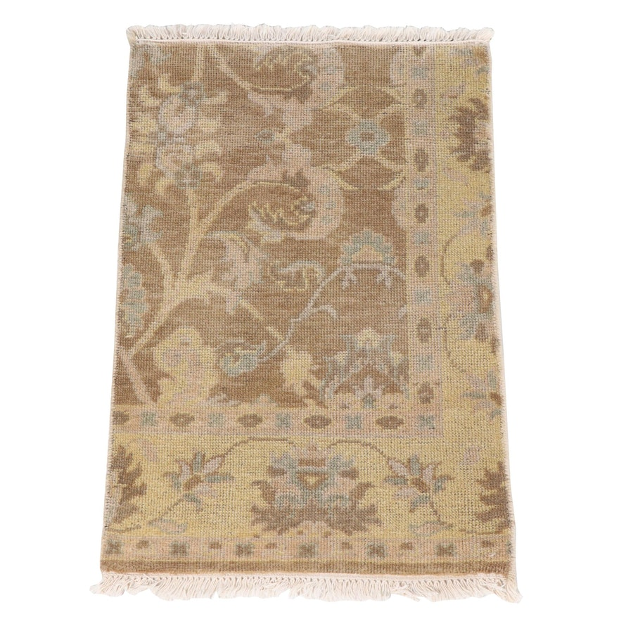 Hand-Knotted Indian Oushak Wool Rug