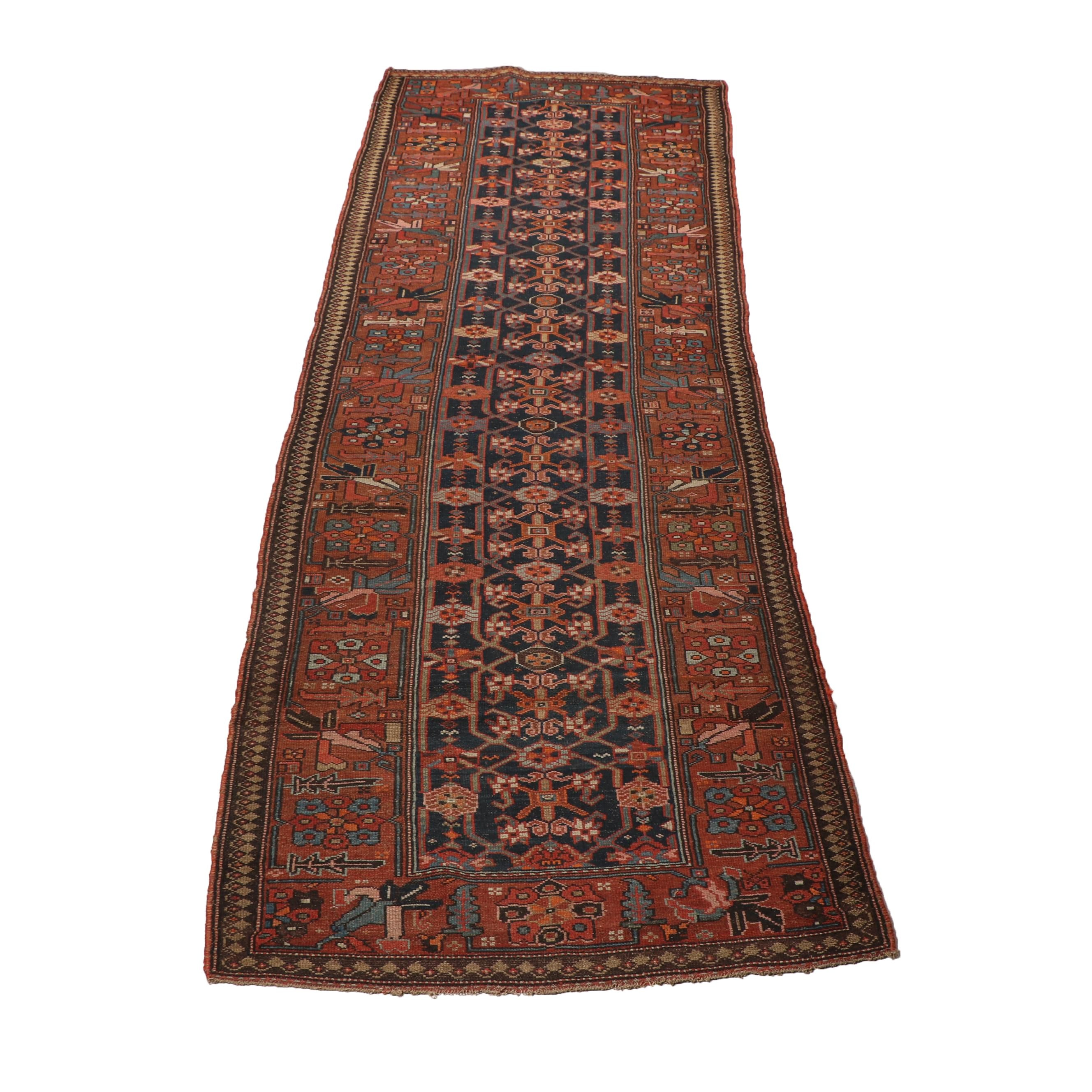 Hand-Knotted Kurdish Wool Long Rug