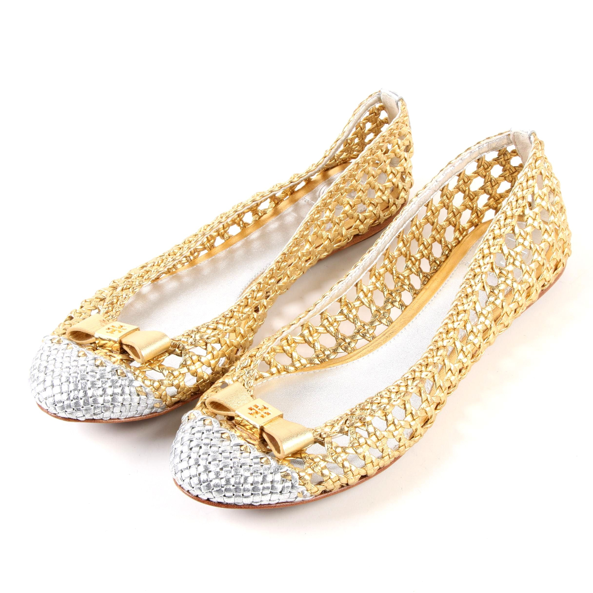 Tory Burch Carlyle Bow Top Flats in Open Weave Metallic Gold and Silver Leather