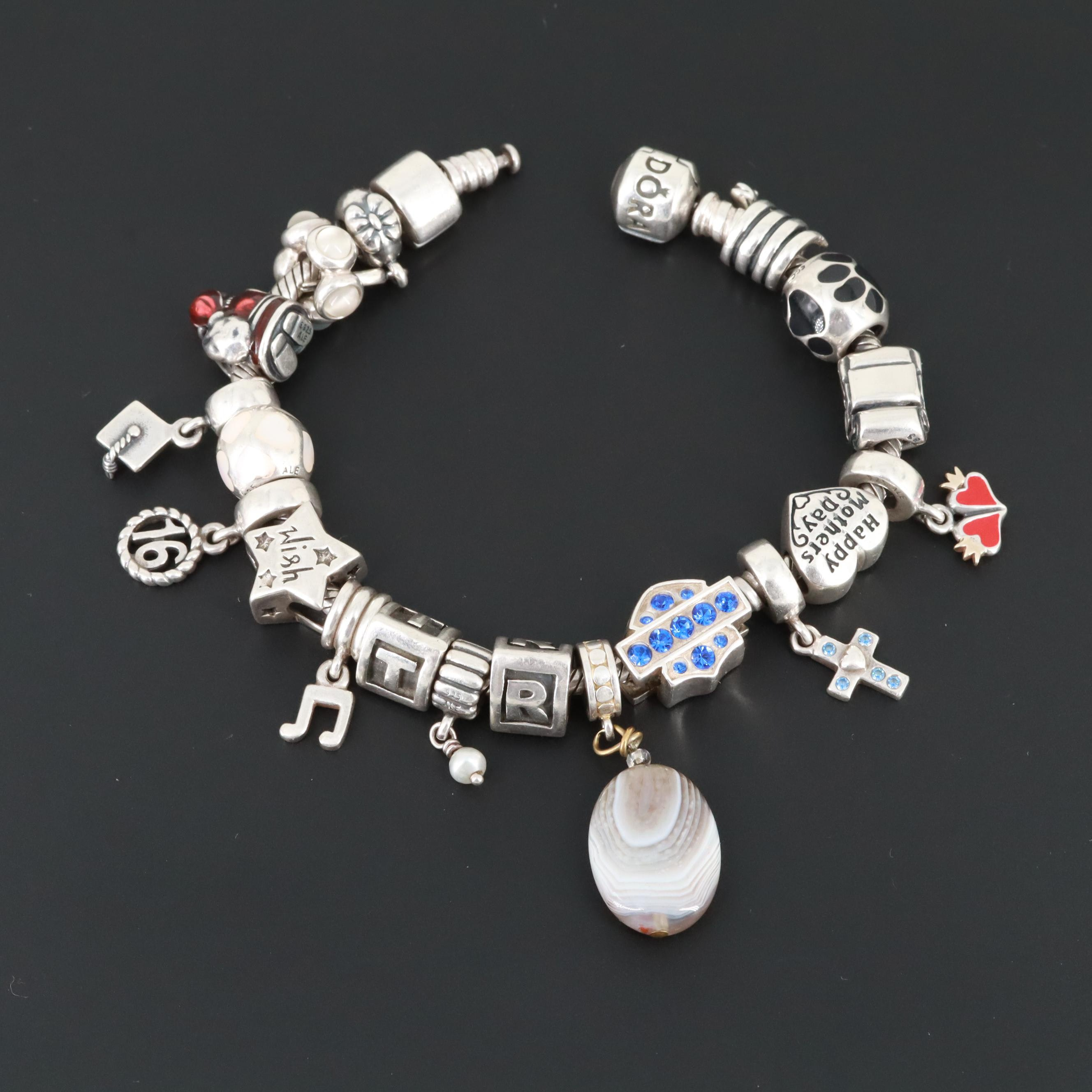 Pandora Sterling Agate, Moonstone, Mother of Pearl Charm Bracelet with Charms