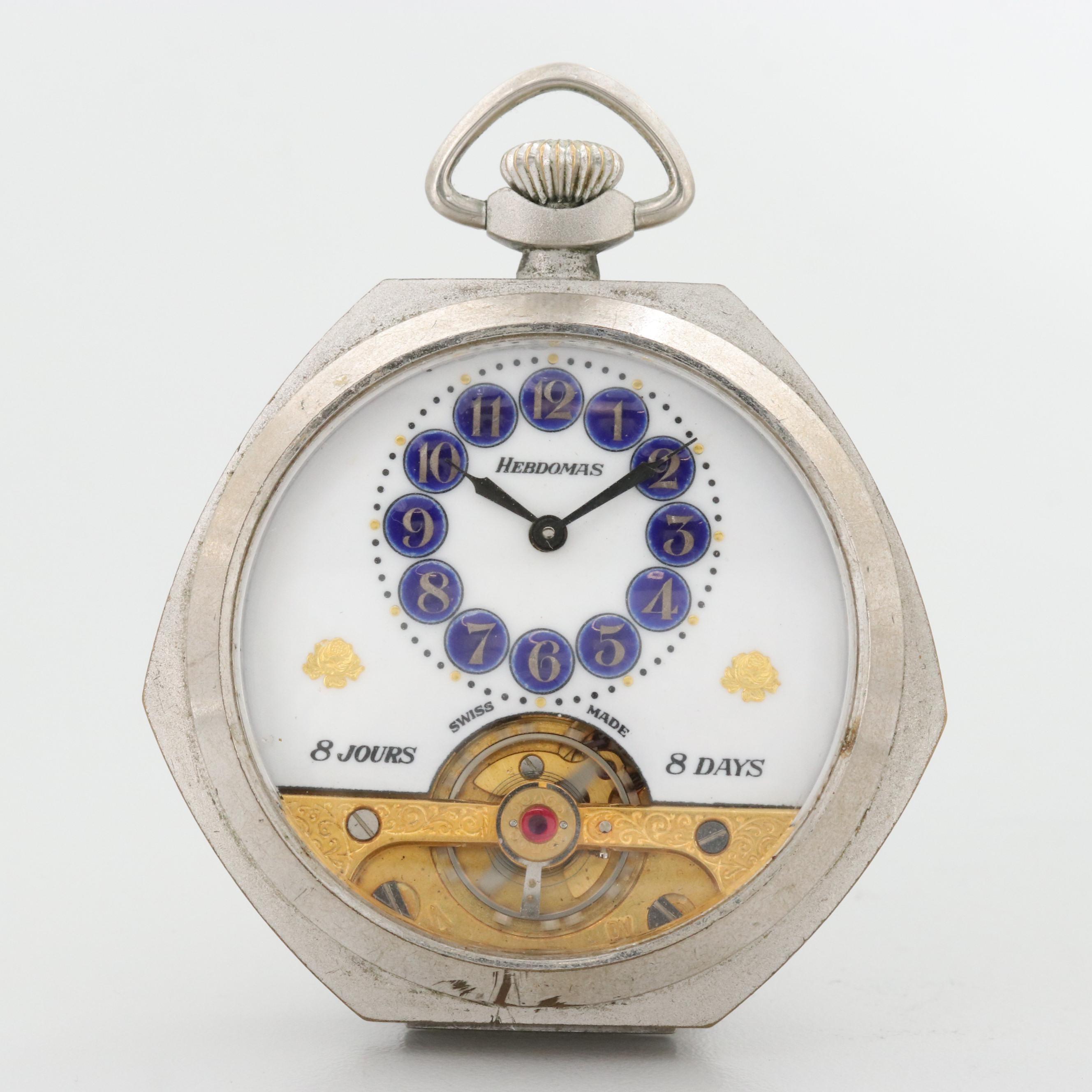 Vintage Hebdomas Eight Day Unique Shaped Case Pocket Watch