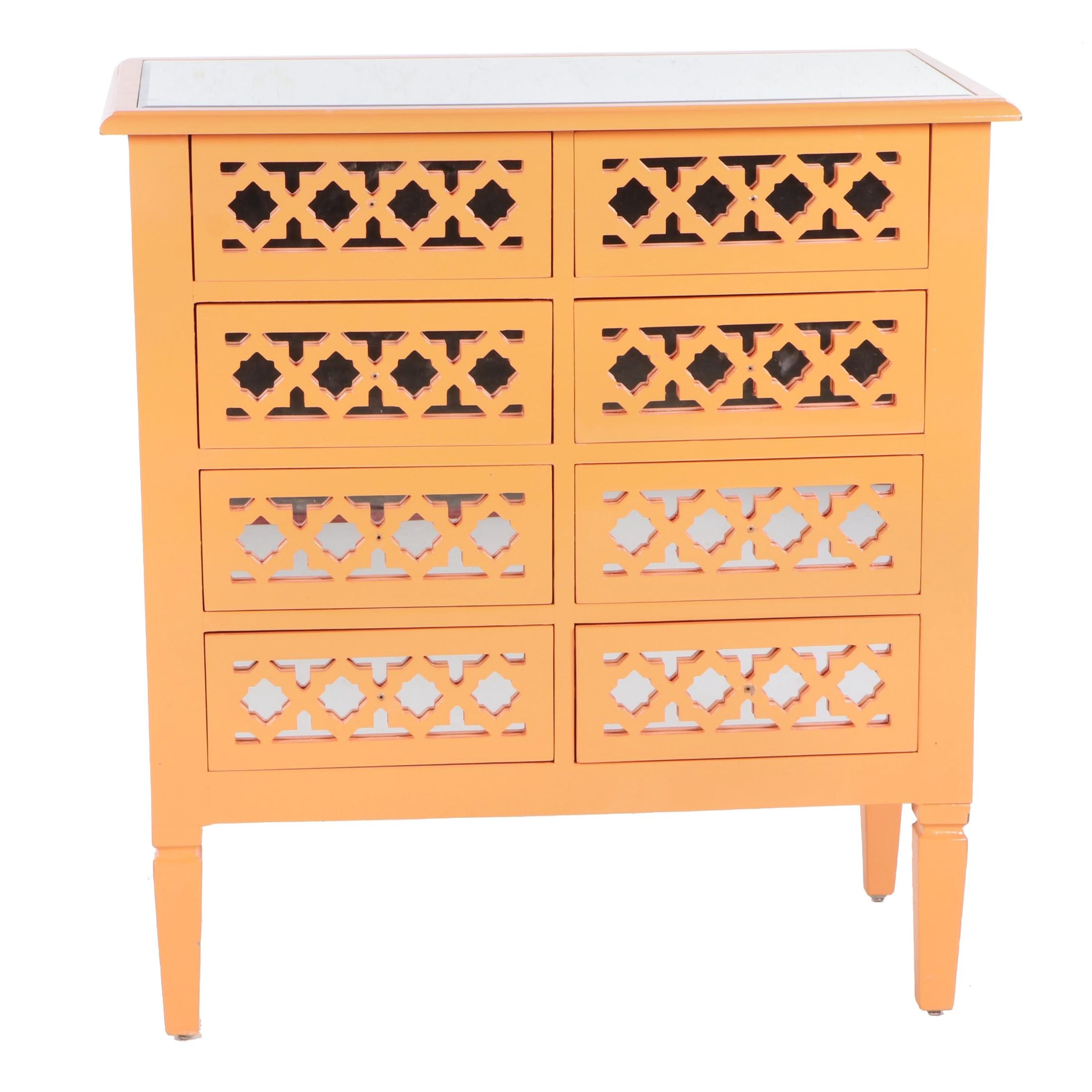 Three Hands Contemporary Orange Engineered Wood and Mirrored Cabinet