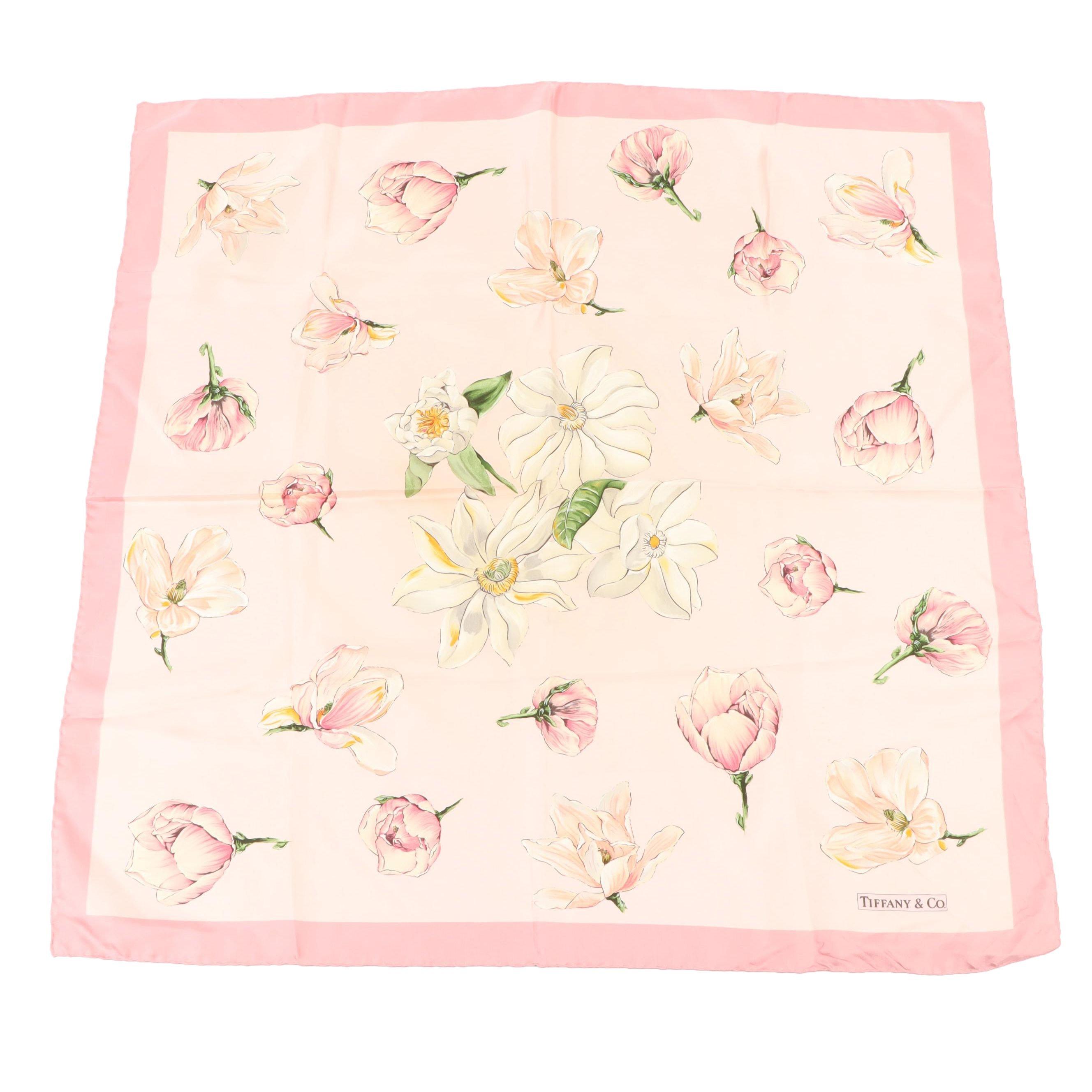 Tiffany & Co. Italian Silk Floral Print Scarf