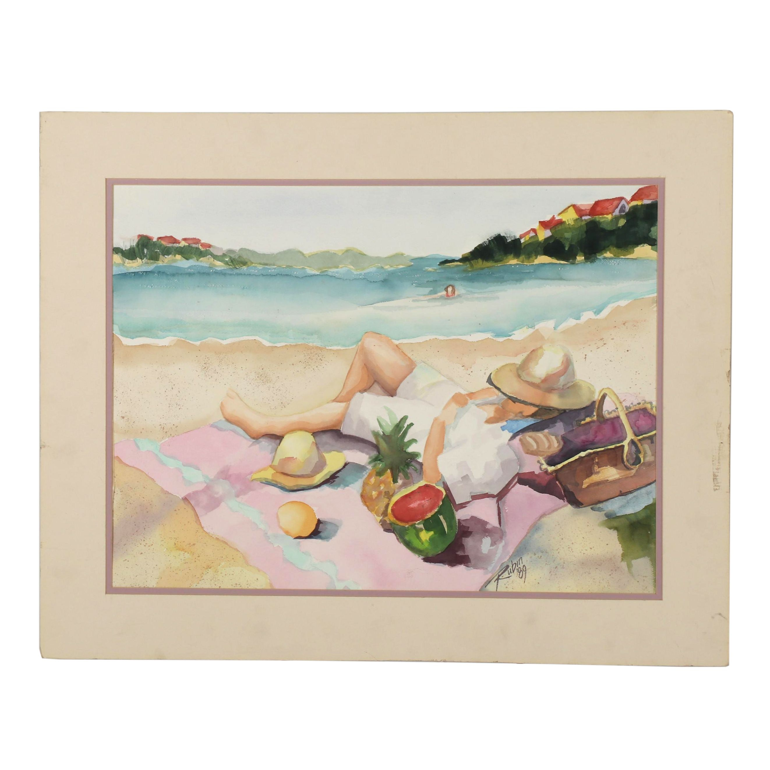 Beach Scene Watercolor Painting, 1989
