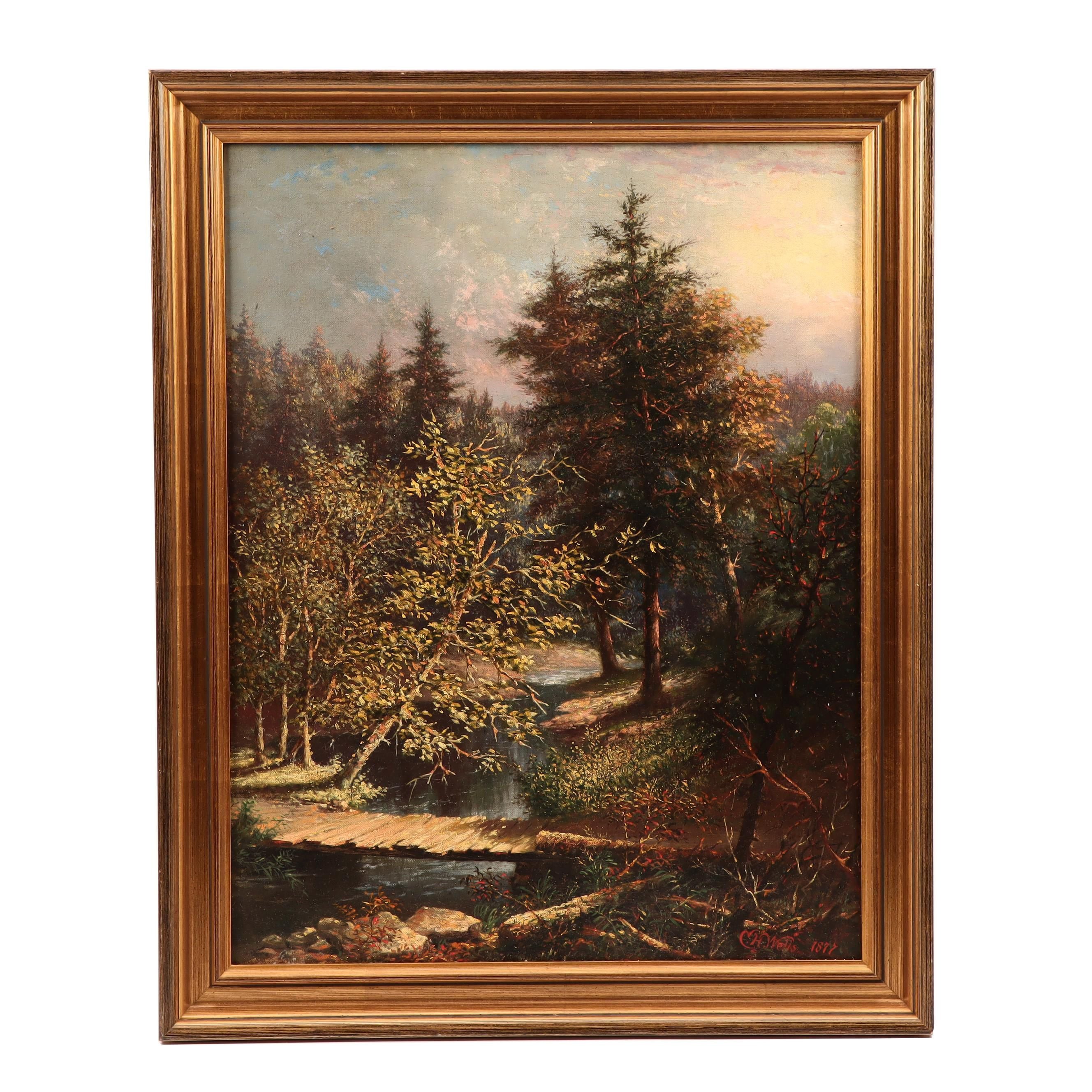 C.H. Wells Barbizon Style Landscape Oil Painting