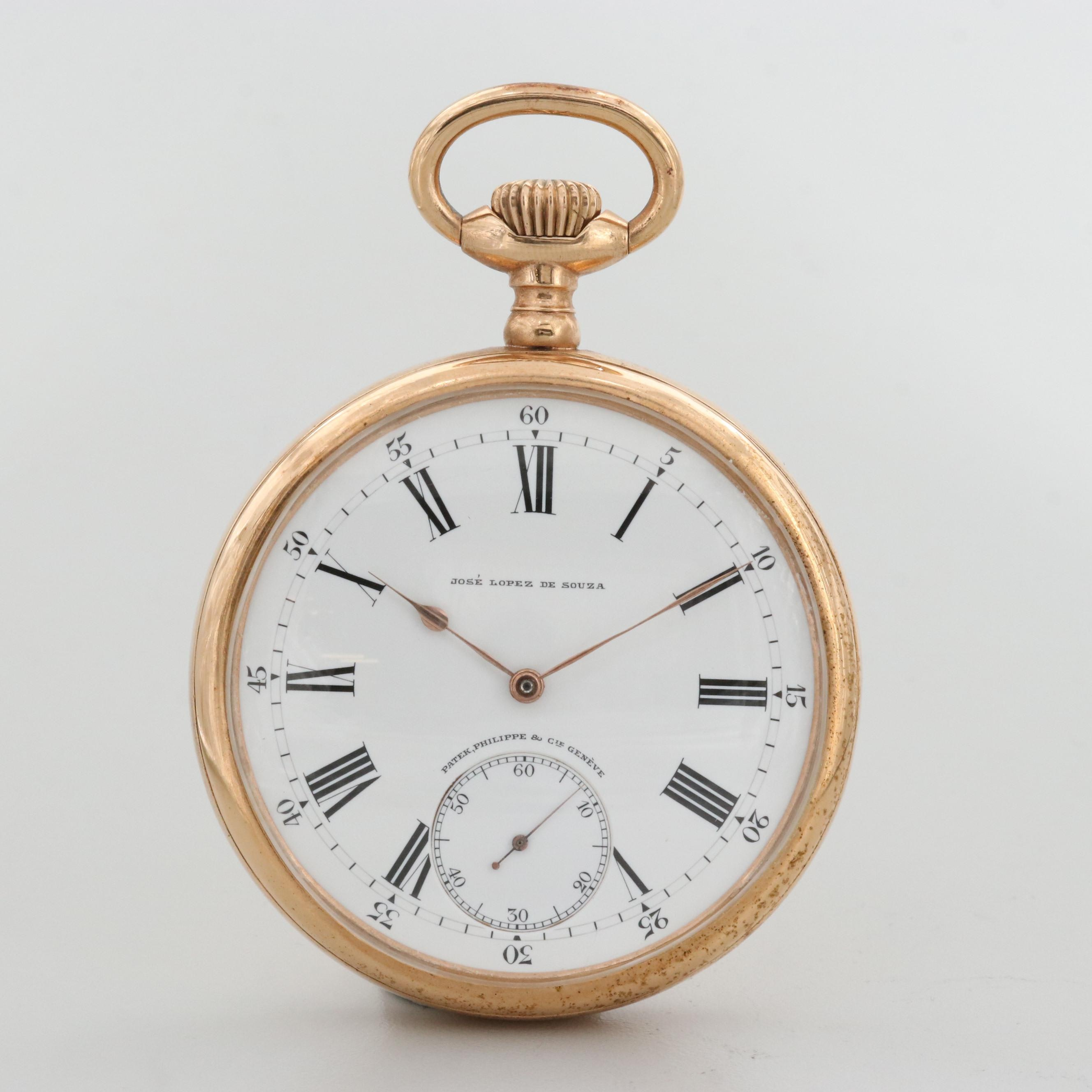 Antique Patek Philippe For Jose Lopez De Souza Gold Filled Pocket Watch