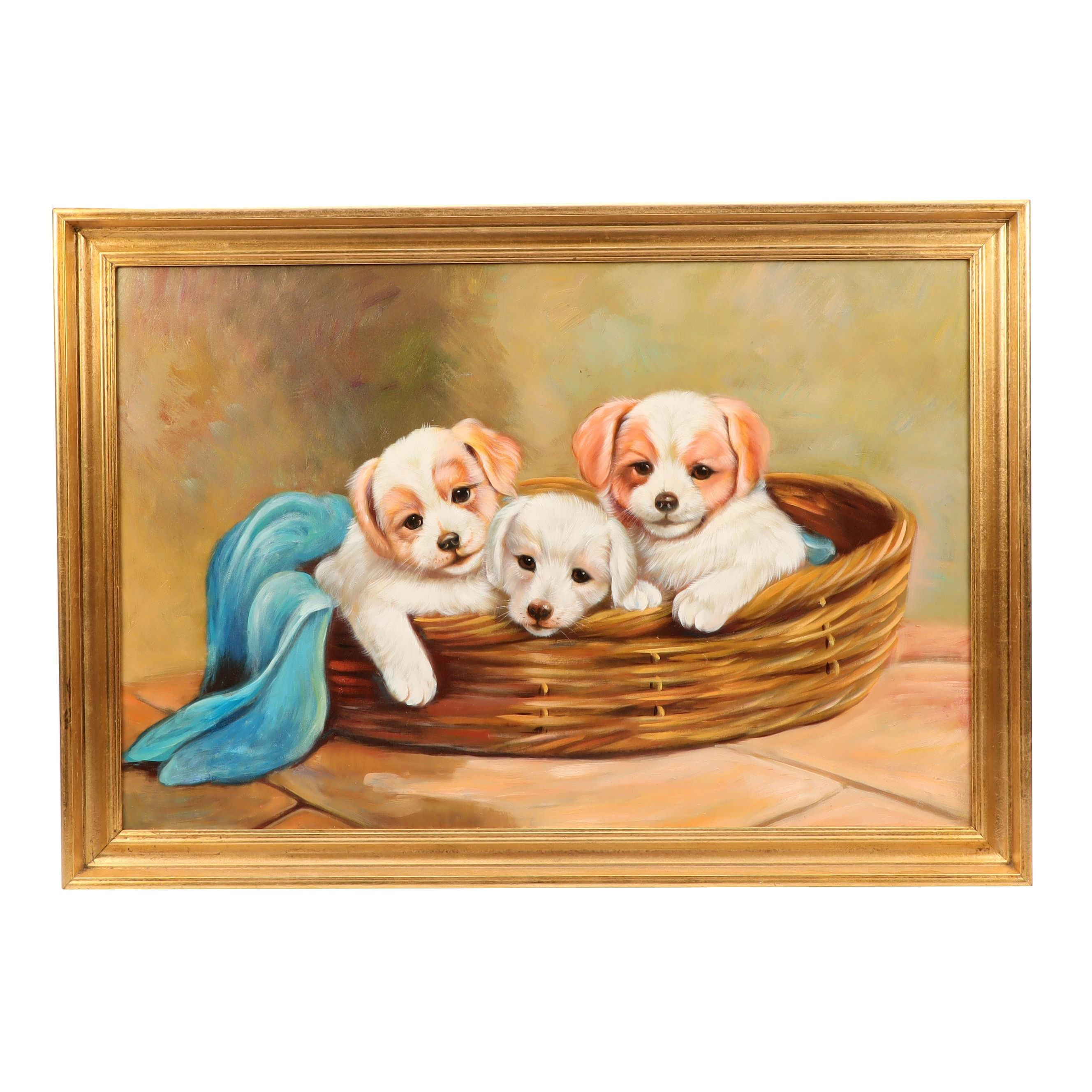 Oil Painting of Puppies in Basket