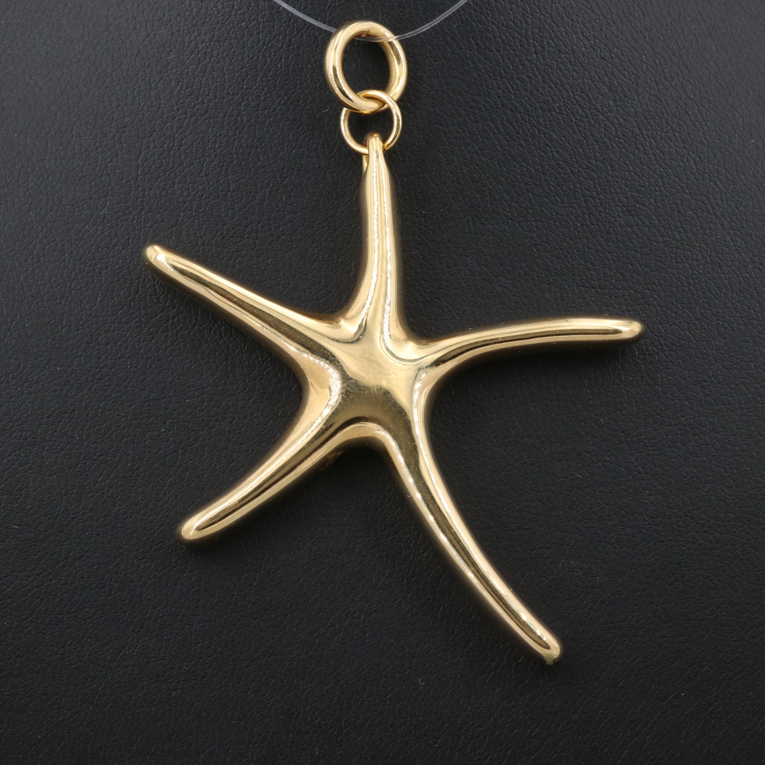 18K Yellow Gold Starfish Pendant