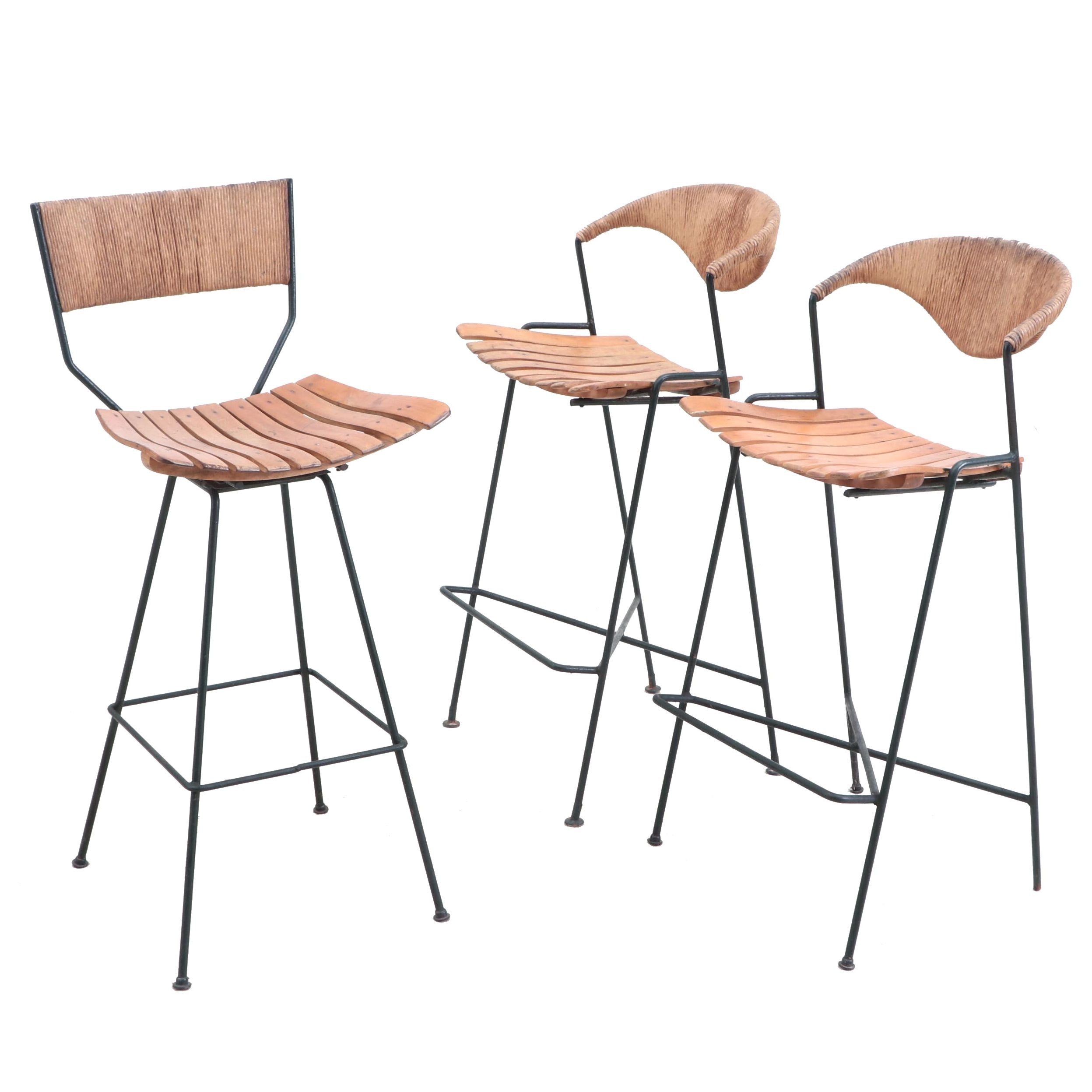 Mid Century Modern Maple Seat Metal Frame Counter Height Chairs