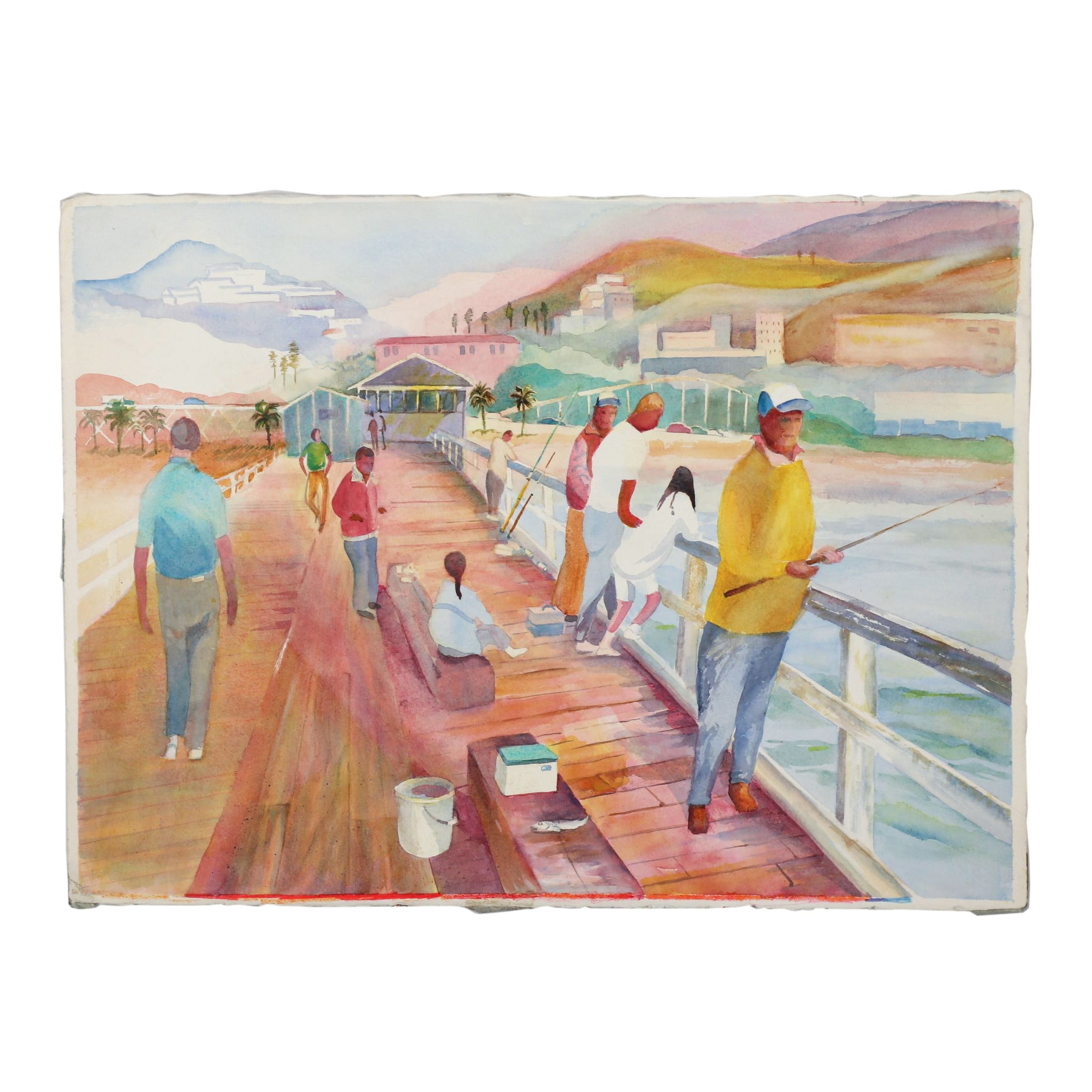 Pier Fishing Scene Watercolor Painting