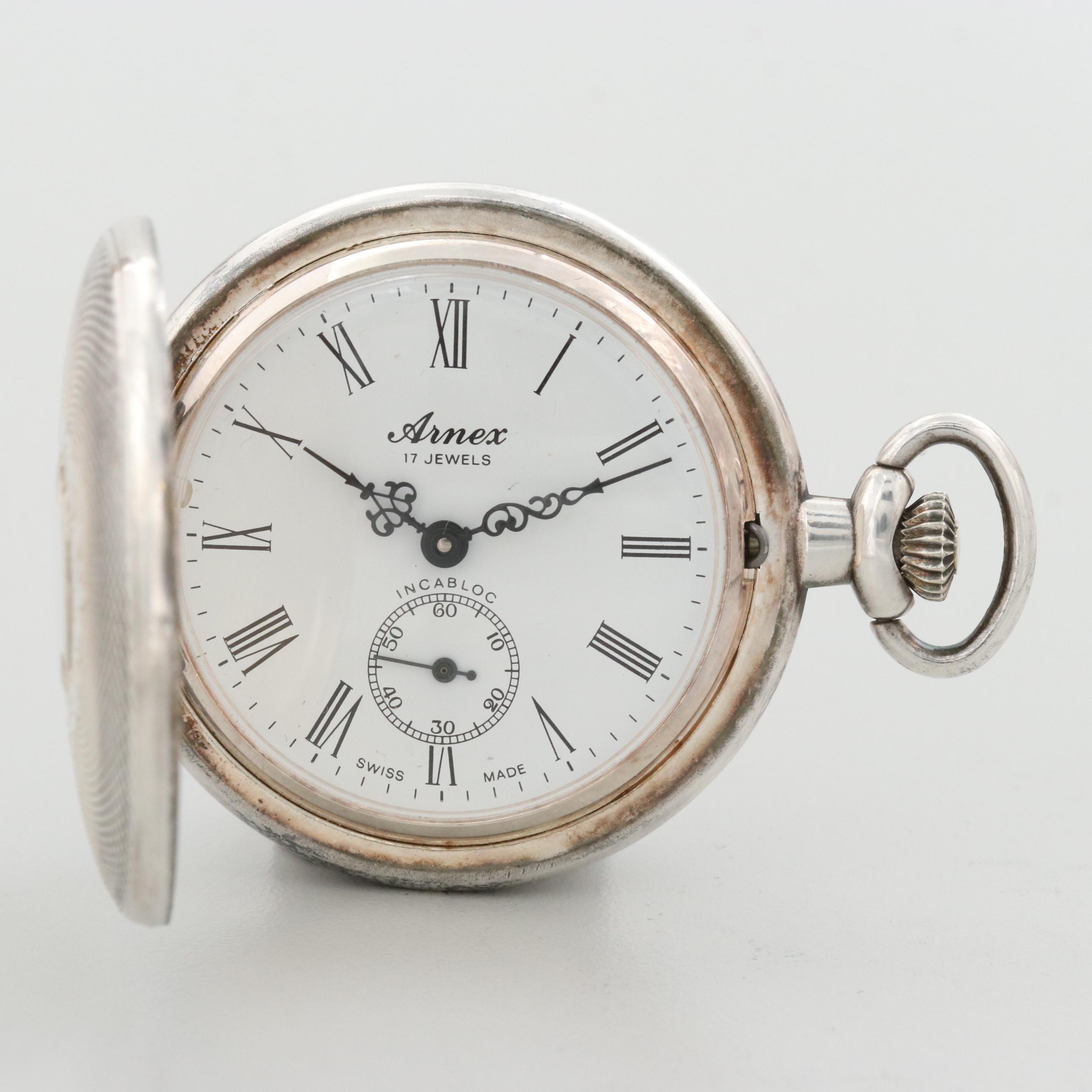 Vintage Arnex Swiss Silver Tone Hunter Case Pocket Watch