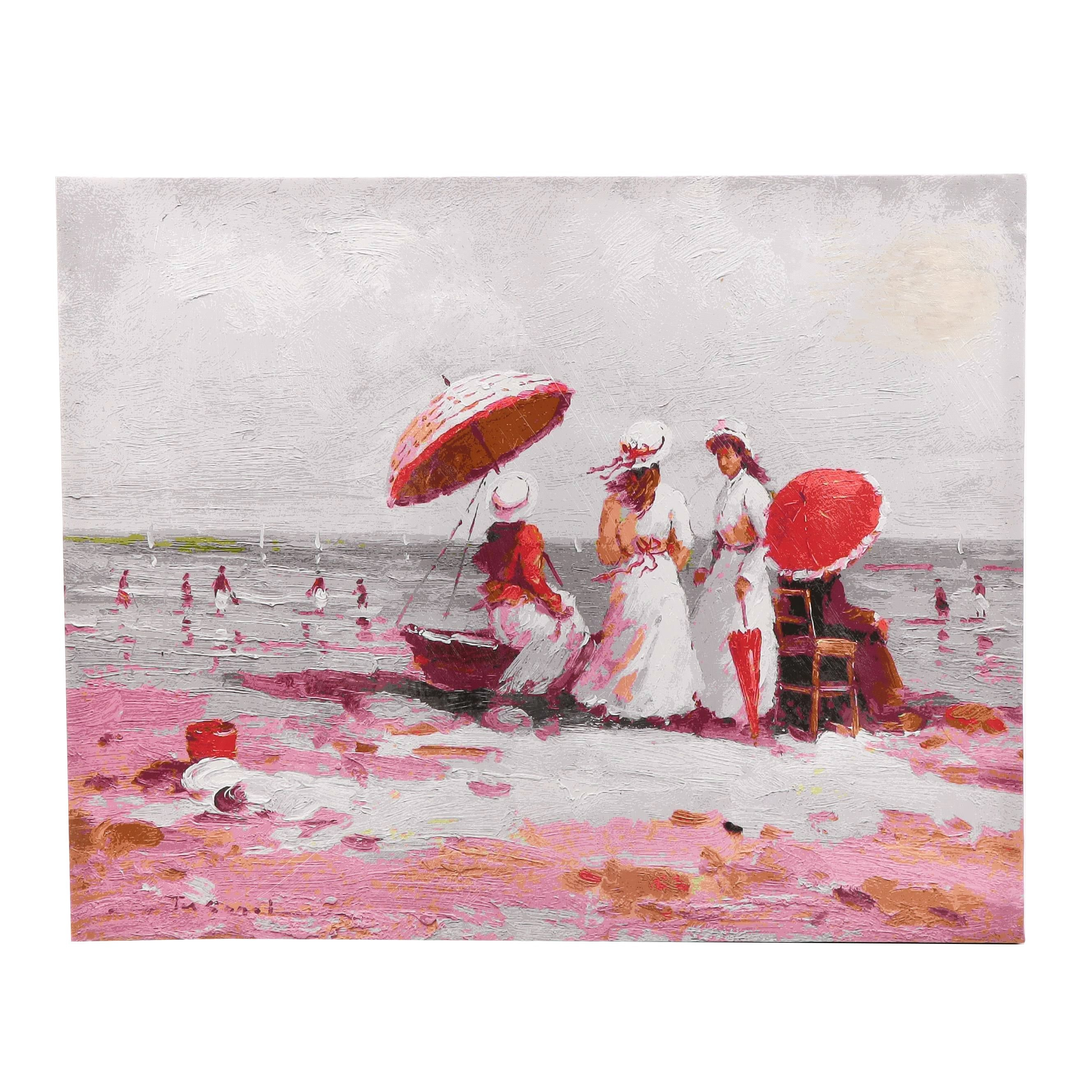 Contemporay Giclee Print of Victorian Era Women at Beach