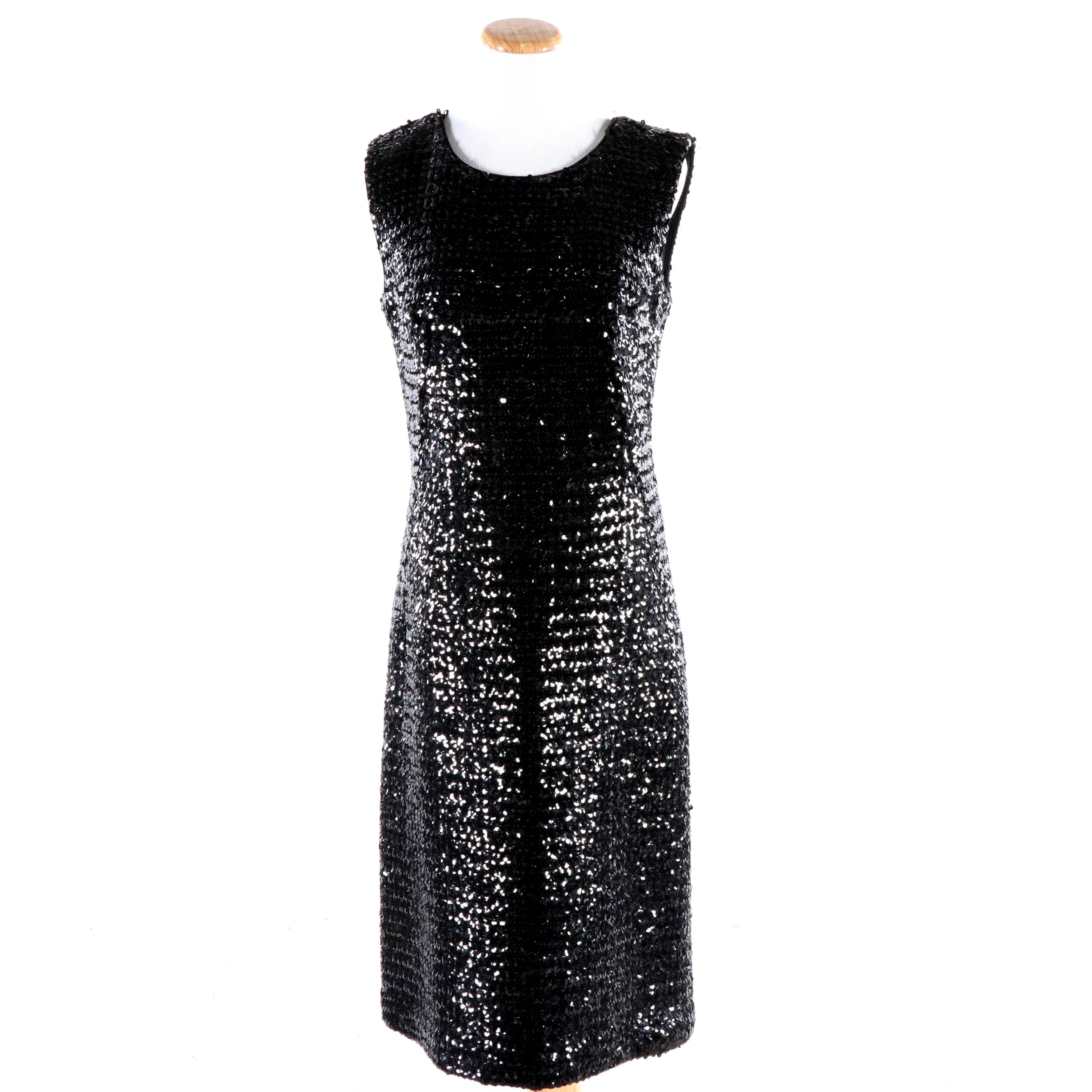 Suzy Perette Designed By John Derro Black Sequined Sheath Dress, Vintage