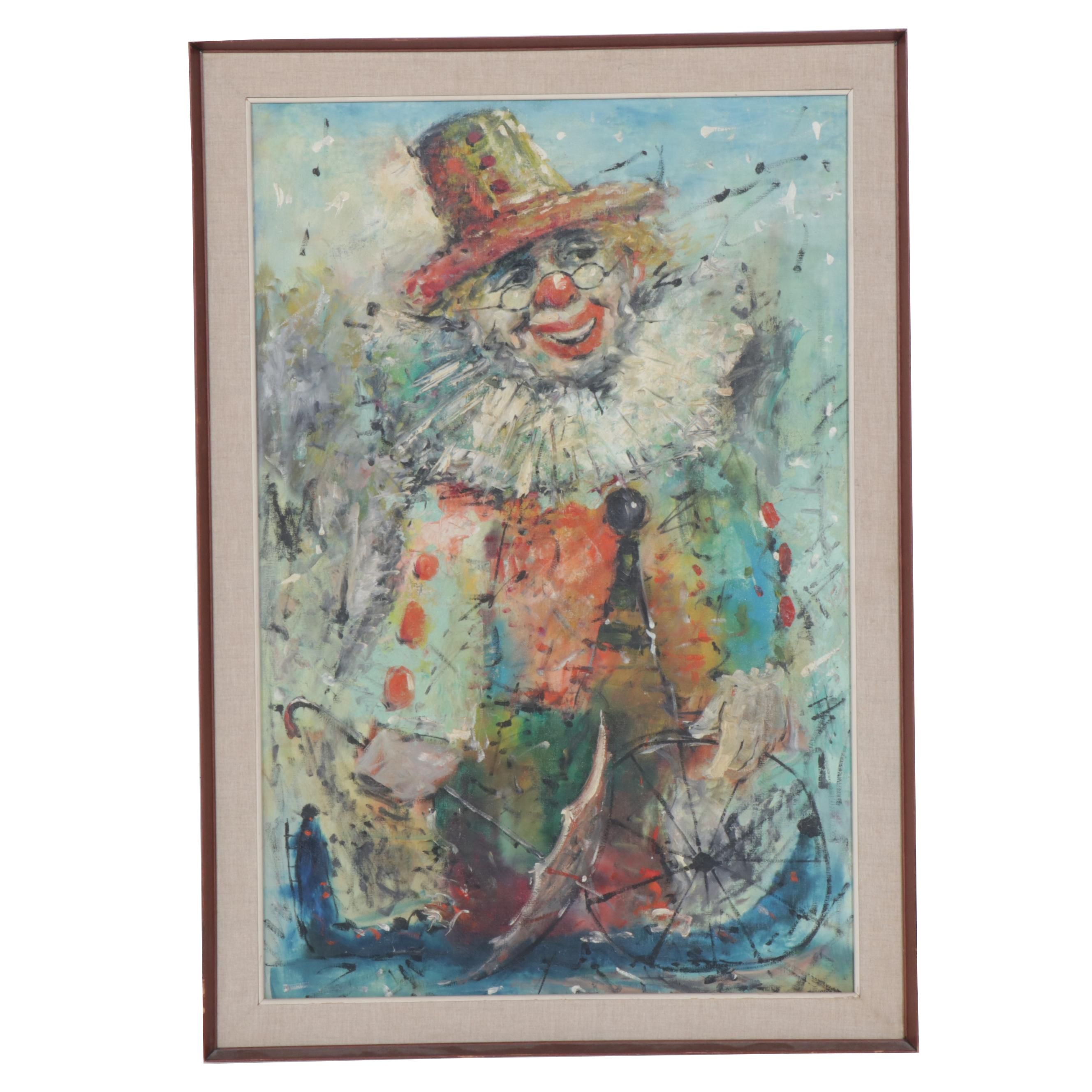 Charles Pults Oil Painting of a Clown