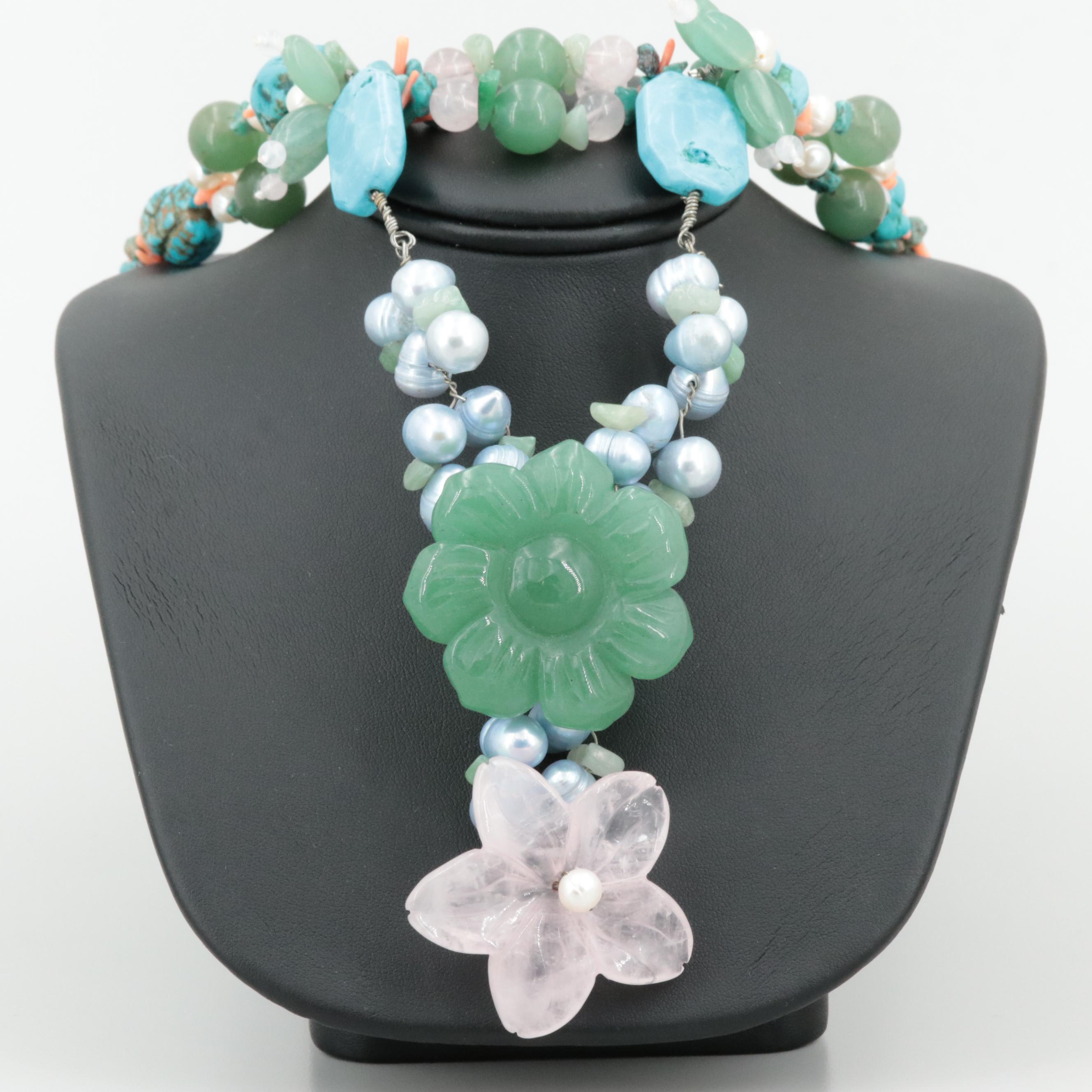 """Sterling Silver Rose Quartz and Imitation Turquoise """"Y"""" Necklace"""