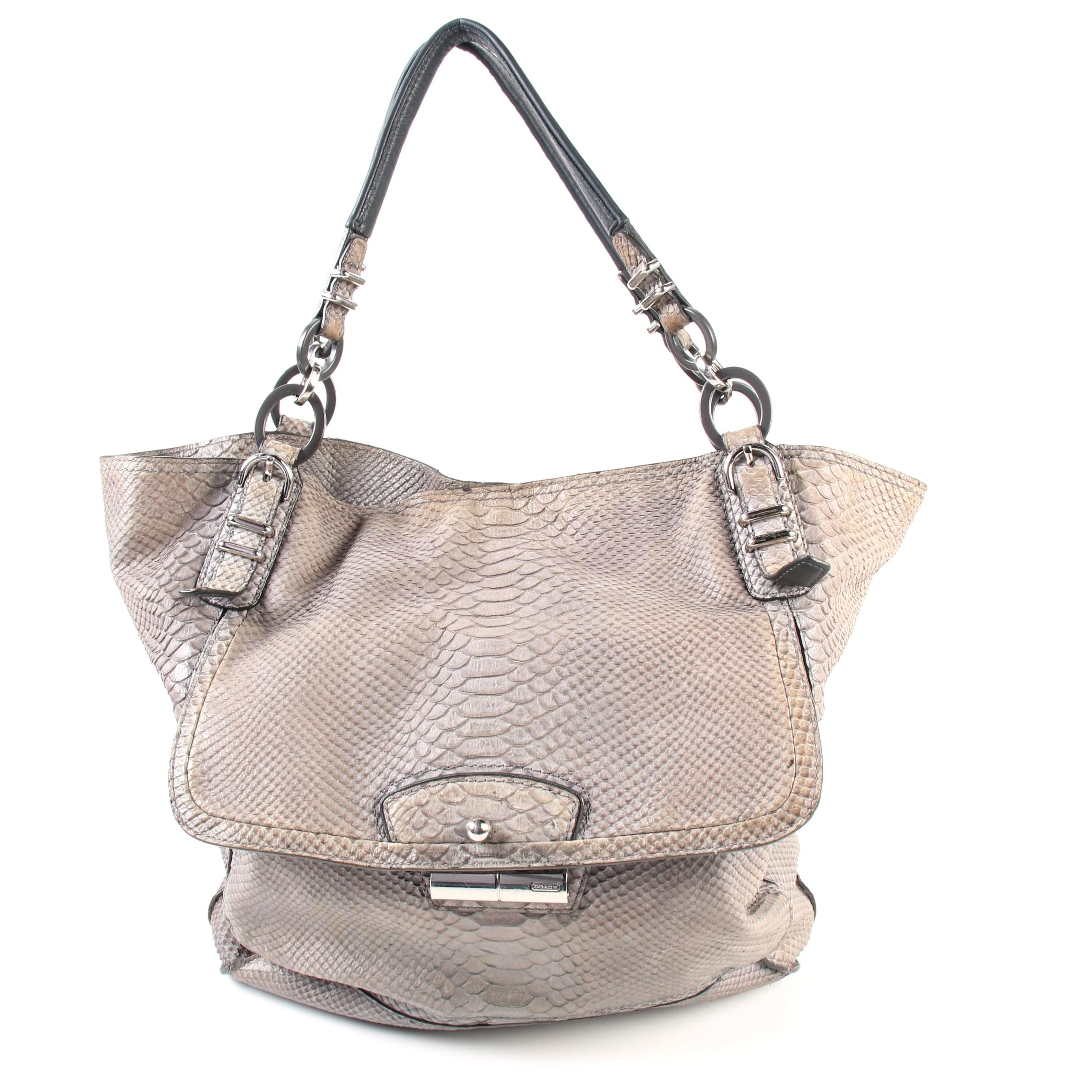 Coach Pinnacle Tote in Gray Python Embossed Leather