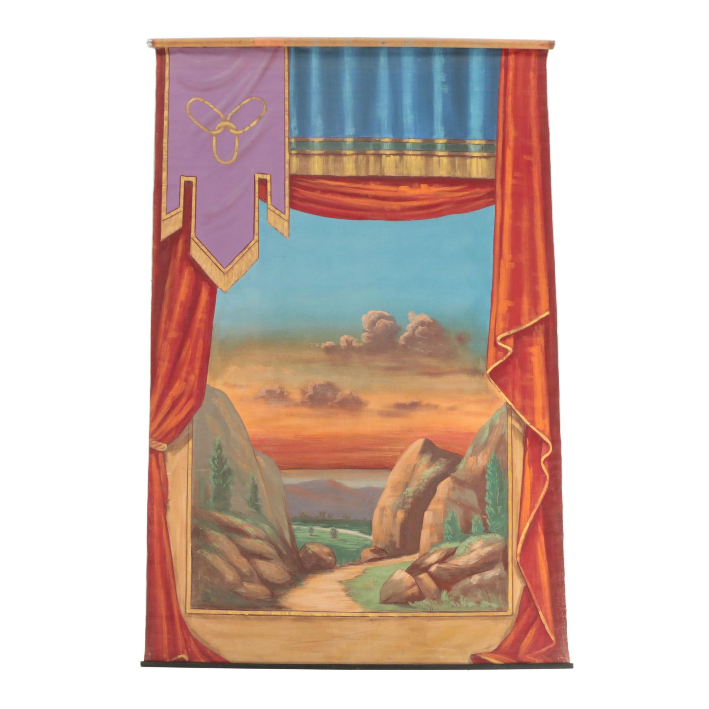 Independent Order of Odd Fellows Hand-Painted Scenic Backdrop