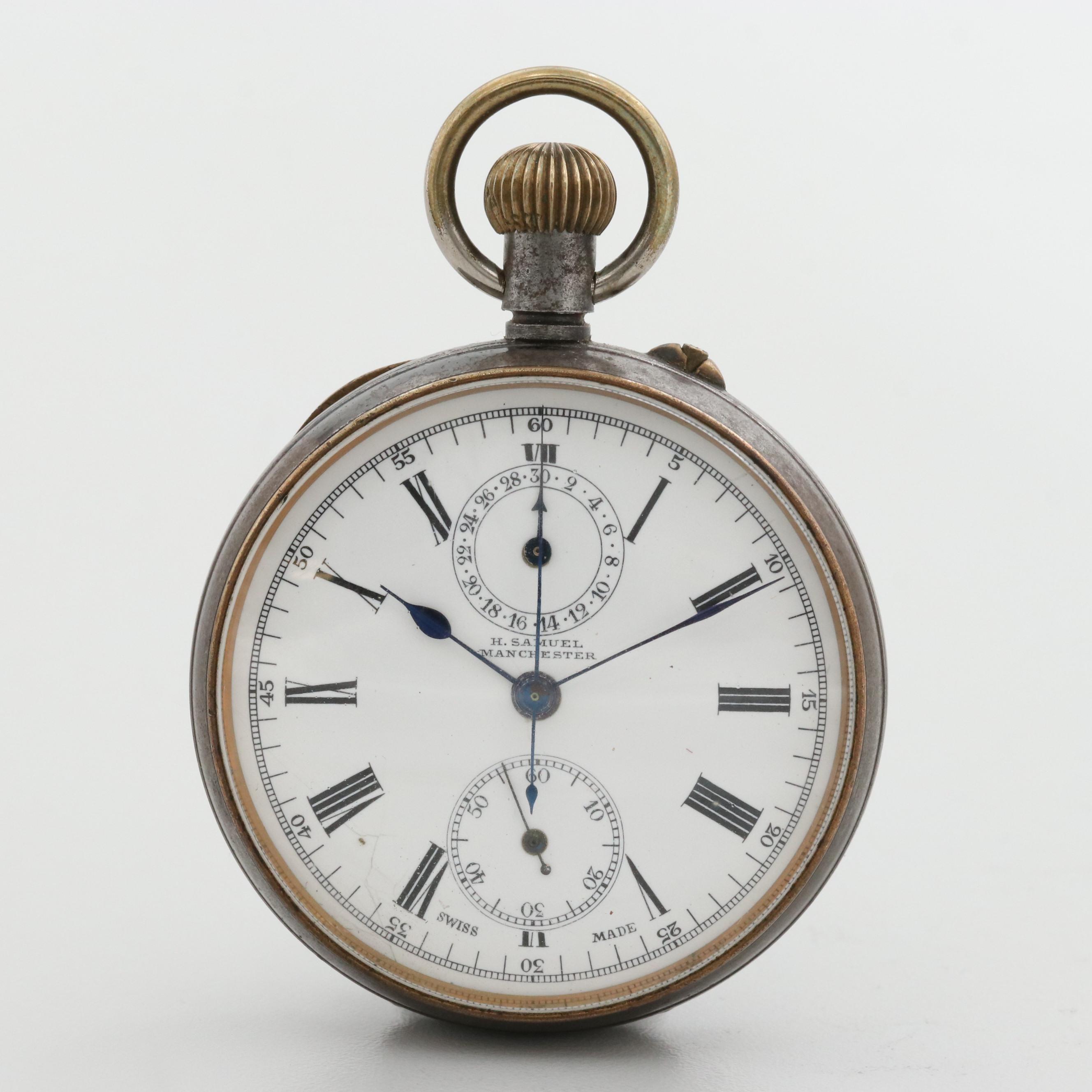 Antique H. Samuel Gunmetal Open Face Chronograph Pocket Watch