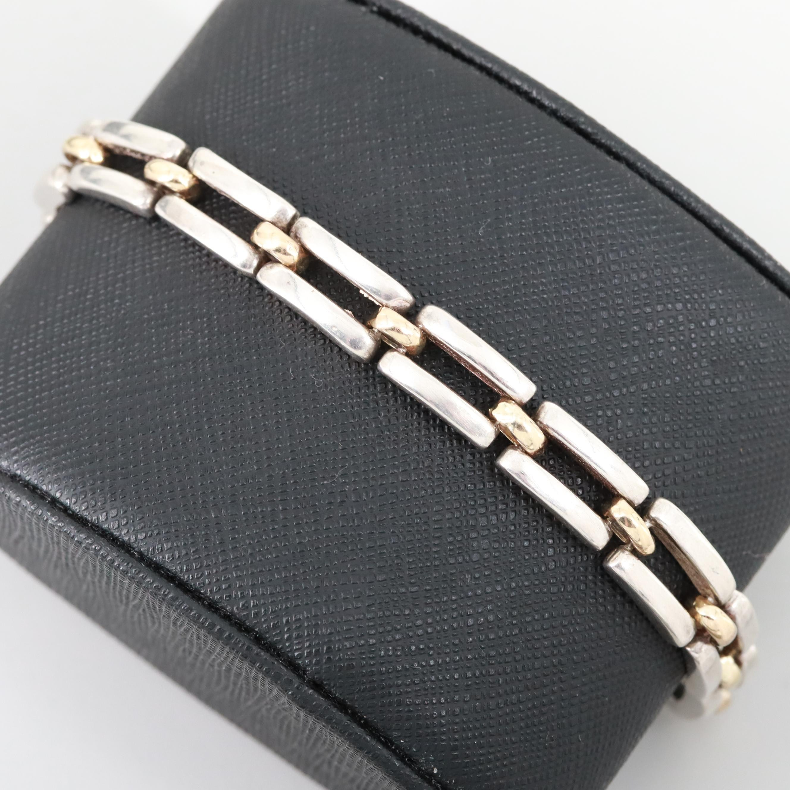 Sterling Silver Bracelet with 14K Yellow Gold Accents