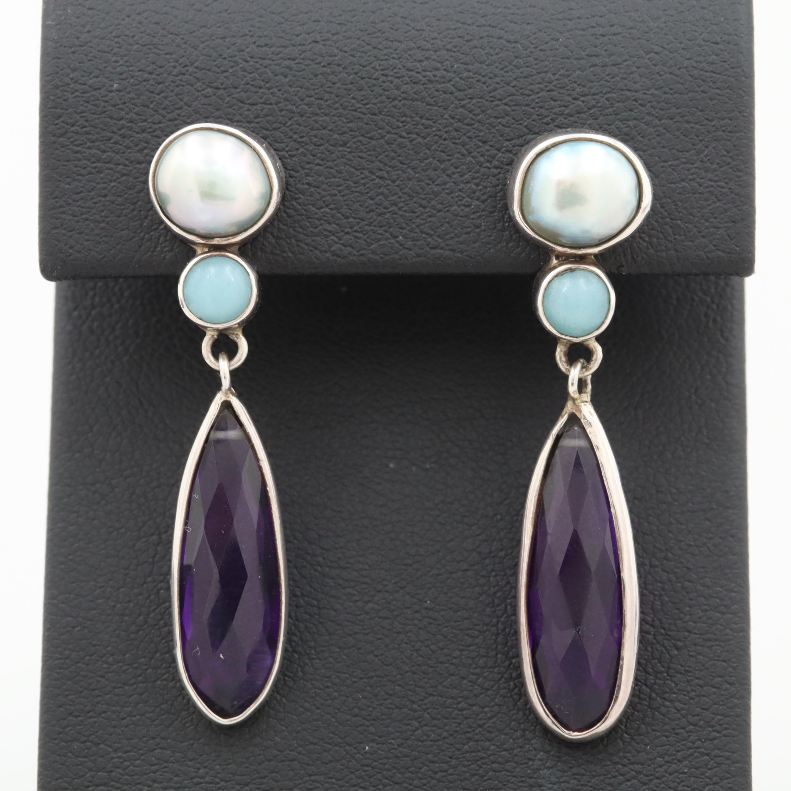 Sterling Silver Cultured Pearl, Aquamarine and Amethyst  Earrings