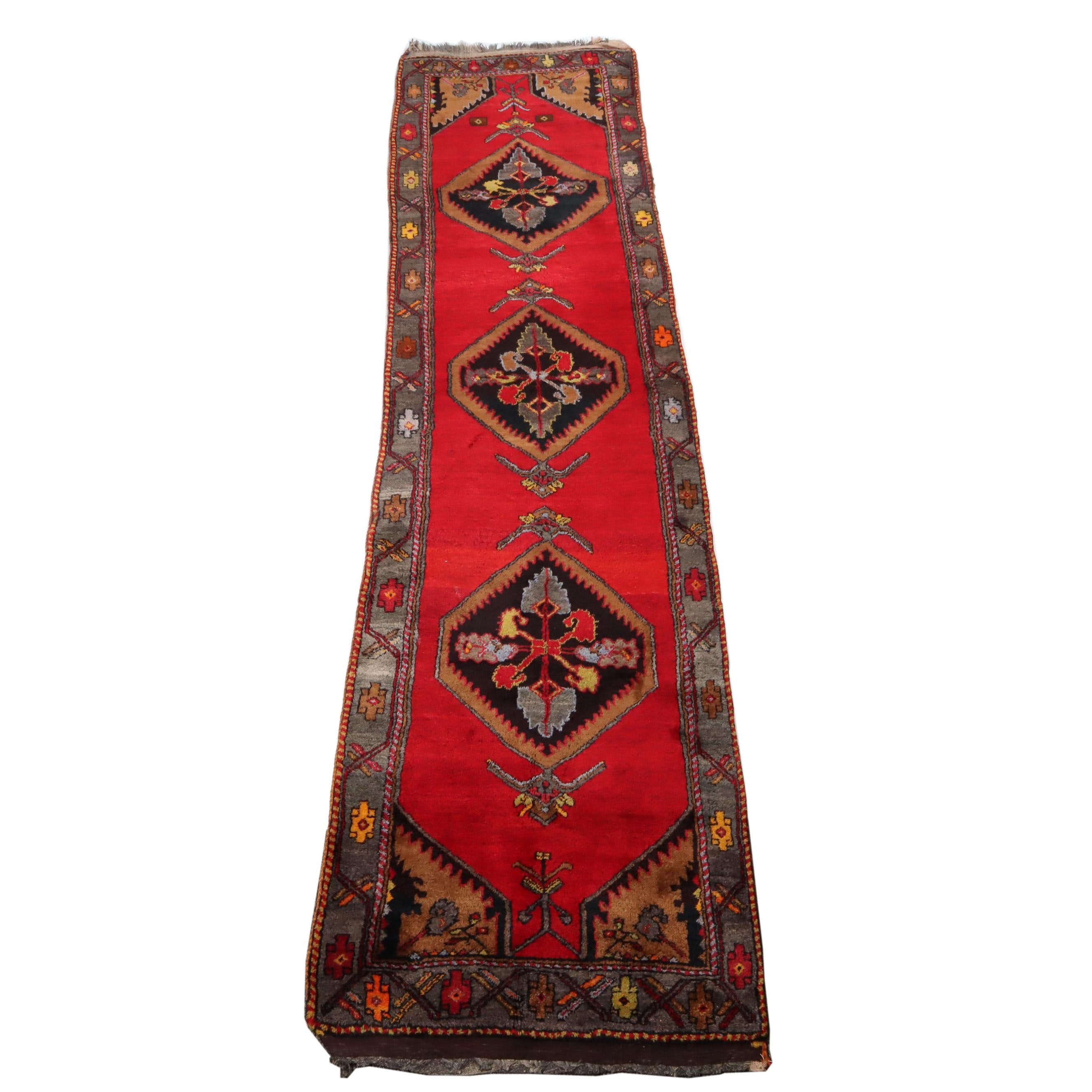 3.3' x 13.2' Hand-Knotted Turkish Oushak Rug Runner, Circa 1940s