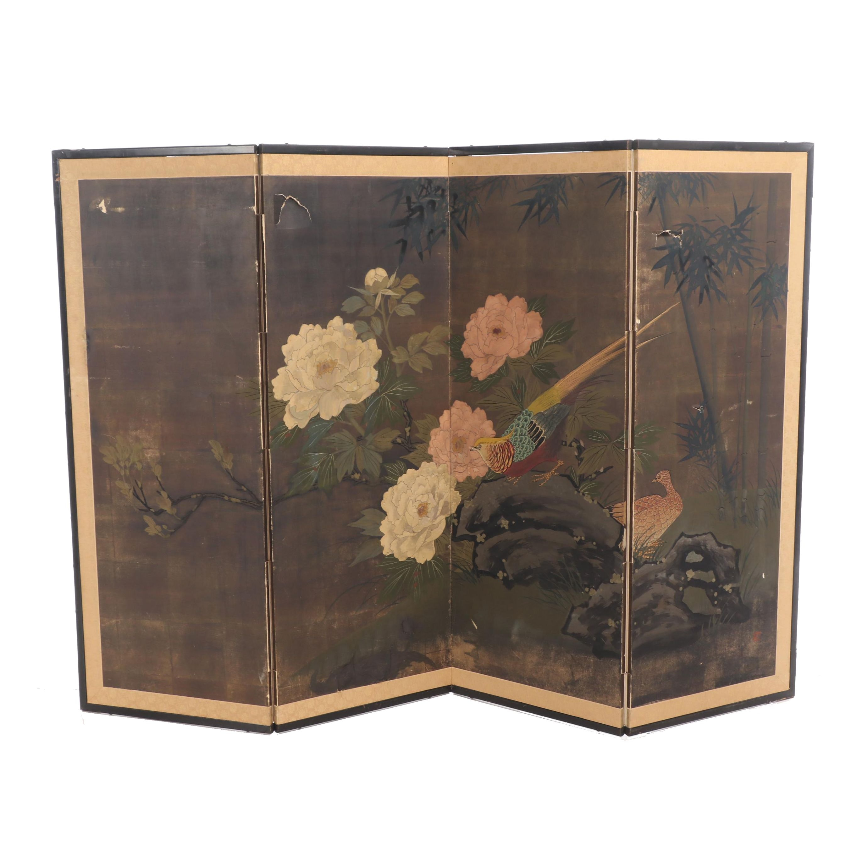 Chinese Hand-Painted Folding Screen with Birds and Flowers
