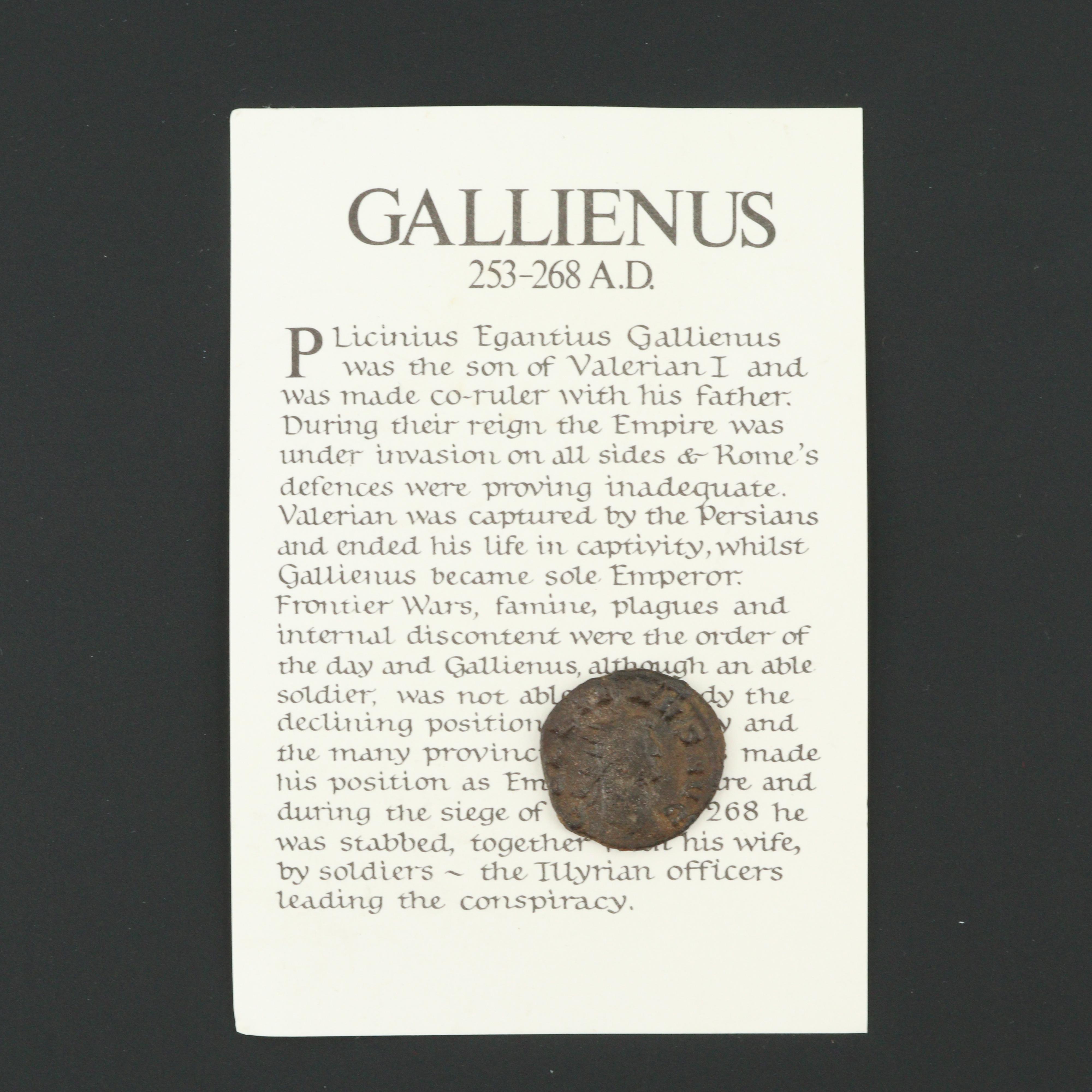 Ancient Roman Imperial AE3 Reduced Follis Coin of Gallienus, ca. 253 A.D.