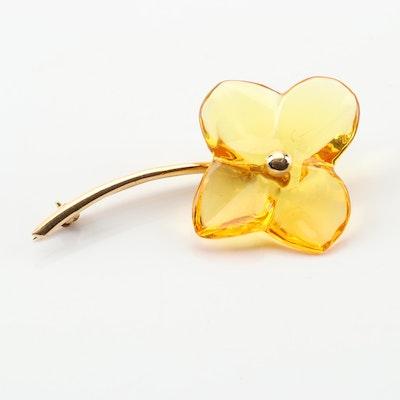 18K Yellow Gold Baccarat Crystal Flower Brooch