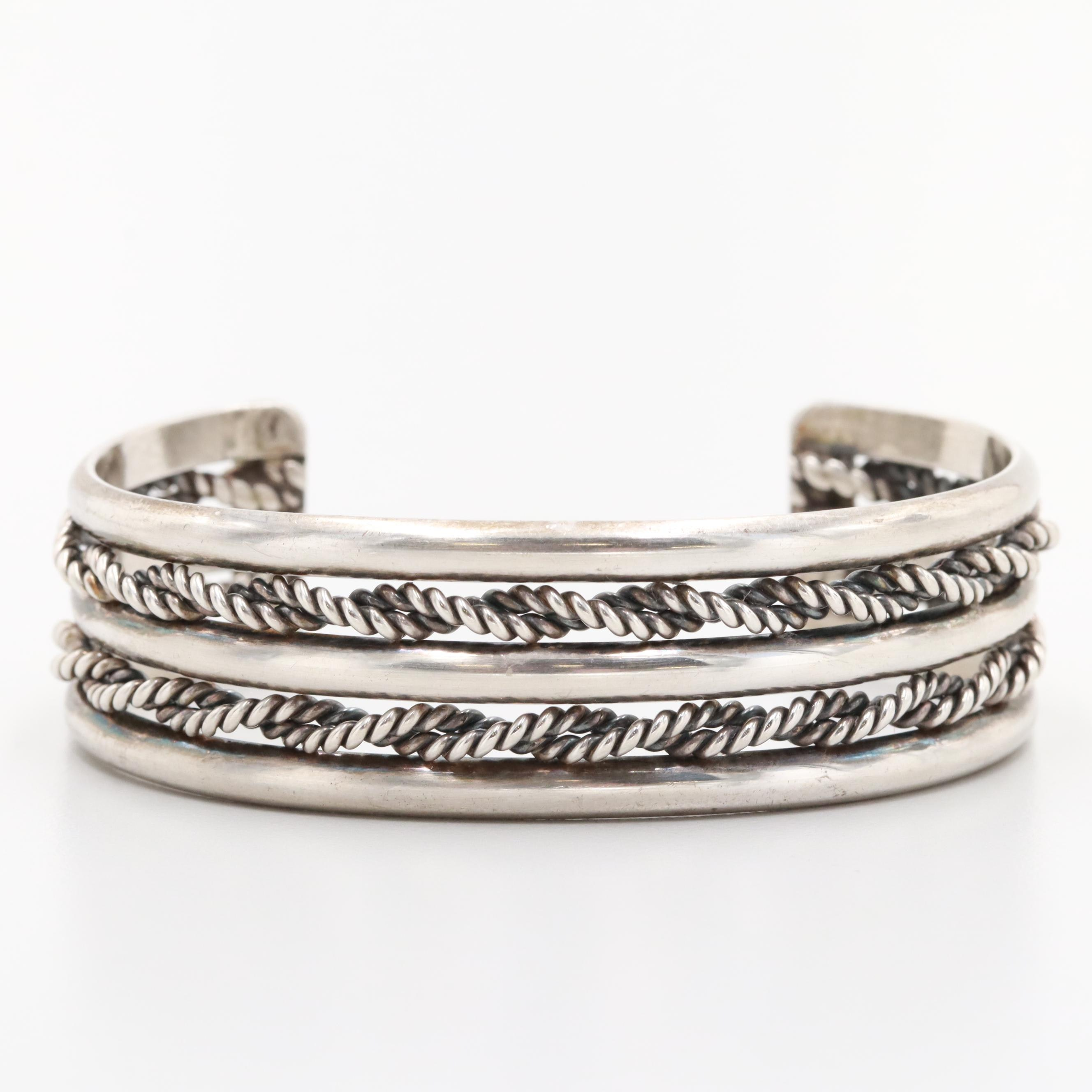 Sterling Silver Cuff Bracelet with Rope Accents