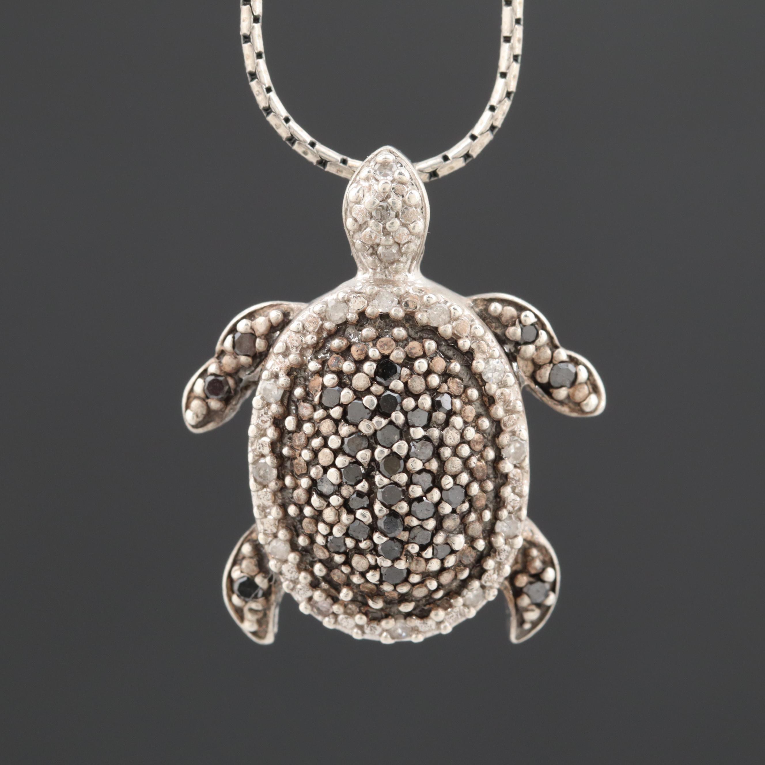 Sterling Silver Turtle Diamond Pendant Necklace with Black Diamonds