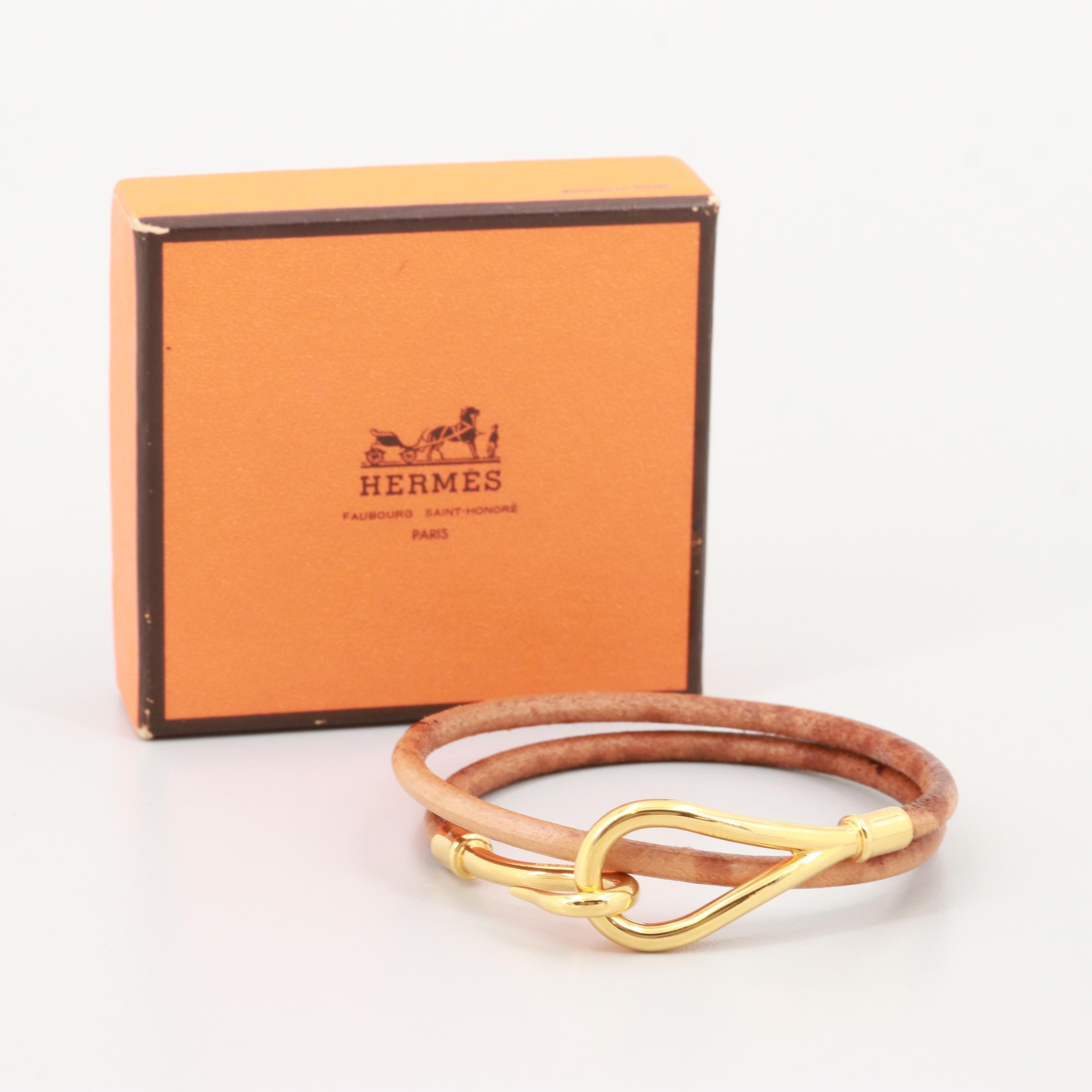 Hermès Leather Gold Tone Wrap Bracelet