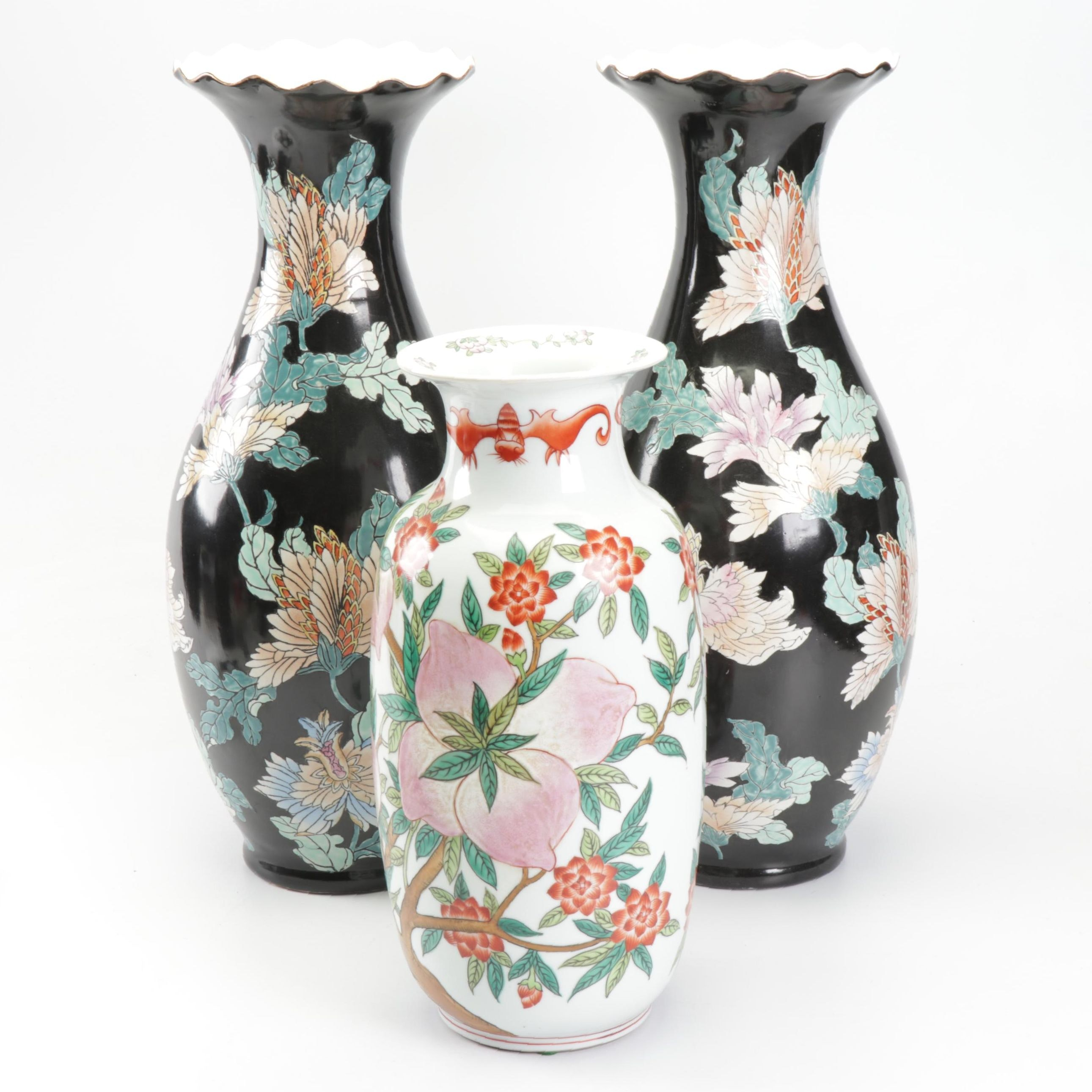 Maitland-Smith and Chinese Floral Porcelain Floor Vases