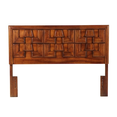 """Queen Size """"Brutalist"""" Style Fruitwood Headboard, Mid to Late 20th Century"""