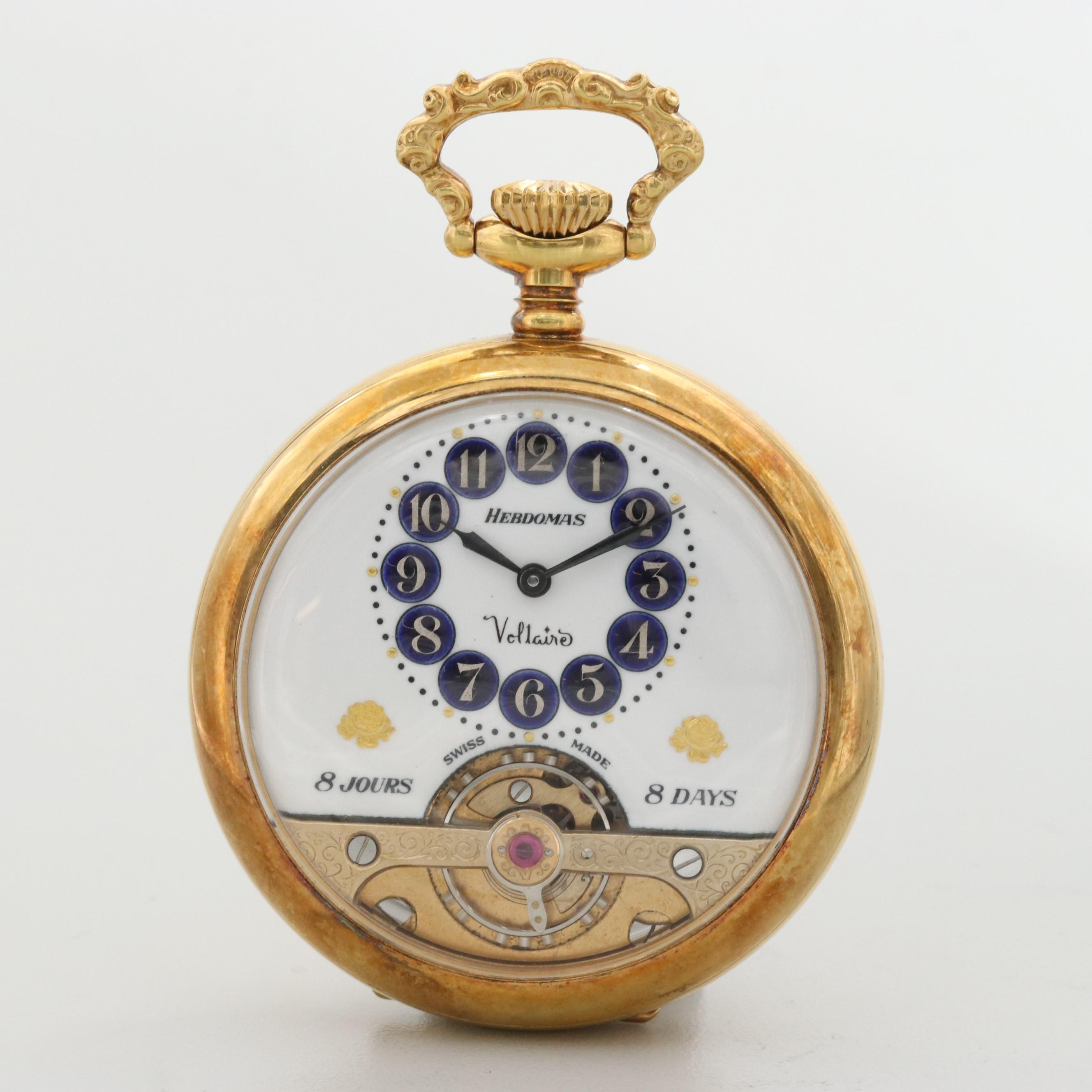 Vintage Hebdomas Eight Day Swiss Gold Tone Pocket Watch