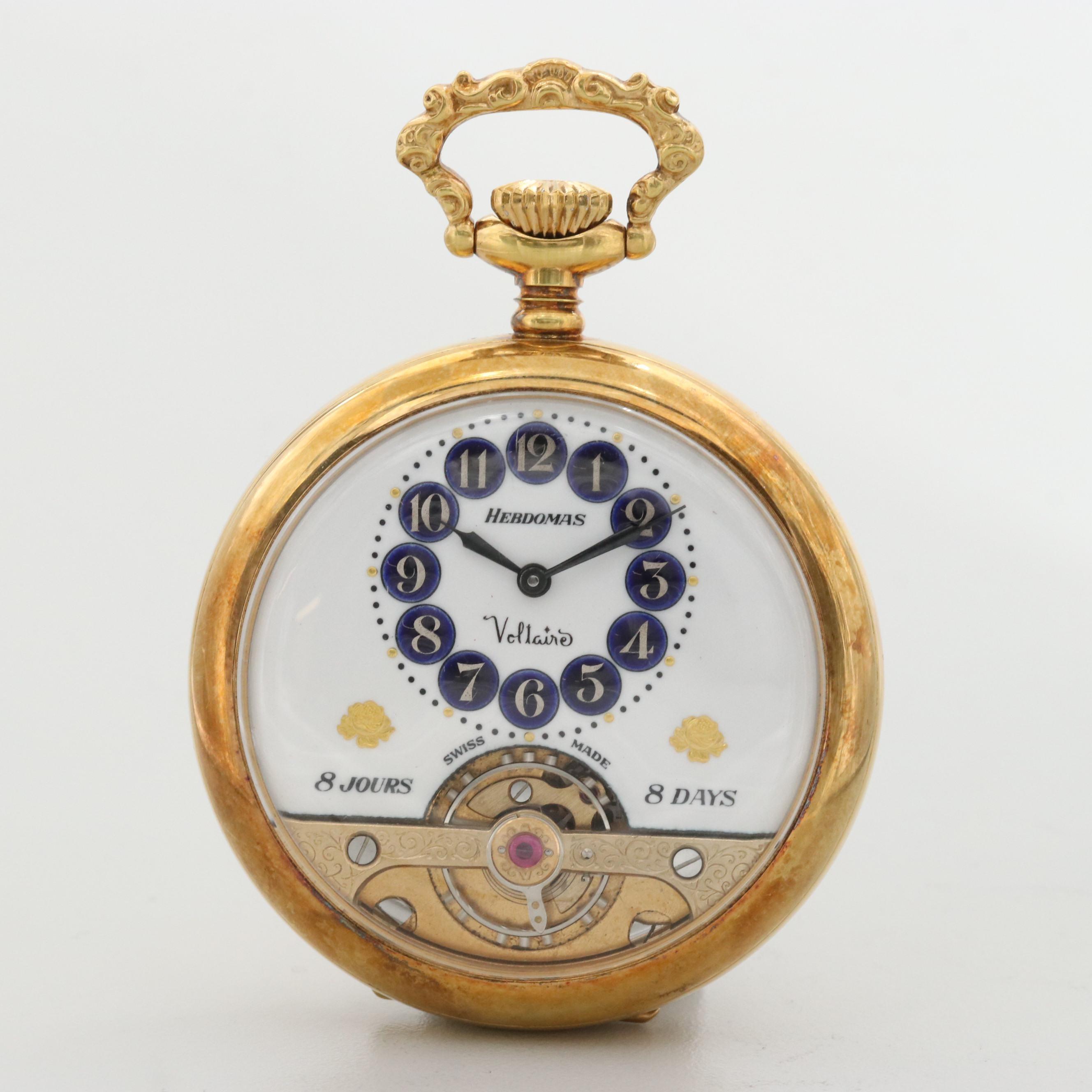 Vintage Hebdomas Eight Day Swiss Gold Tone Pocket Watch