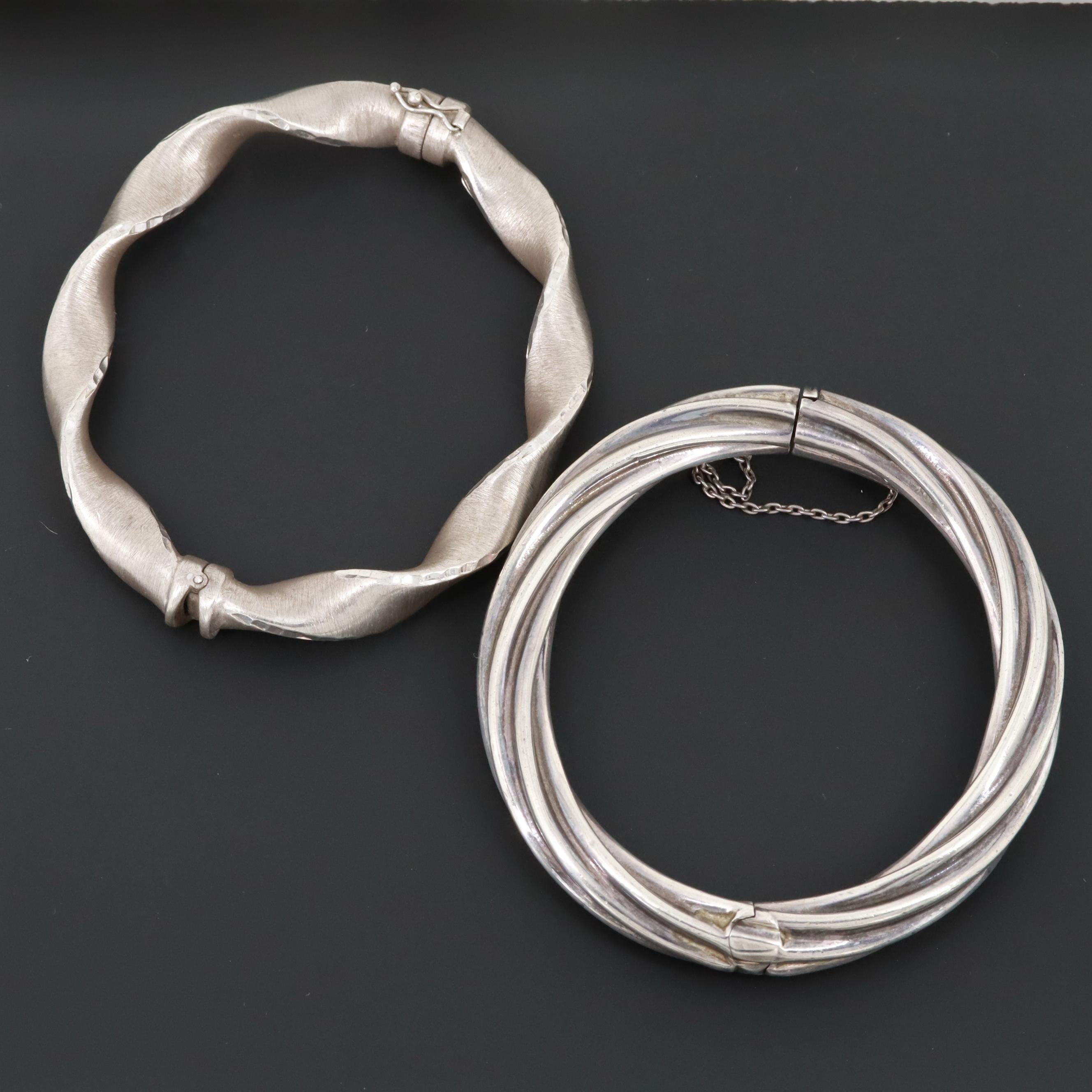 Sterling Silver Hinged Bangle Bracelets
