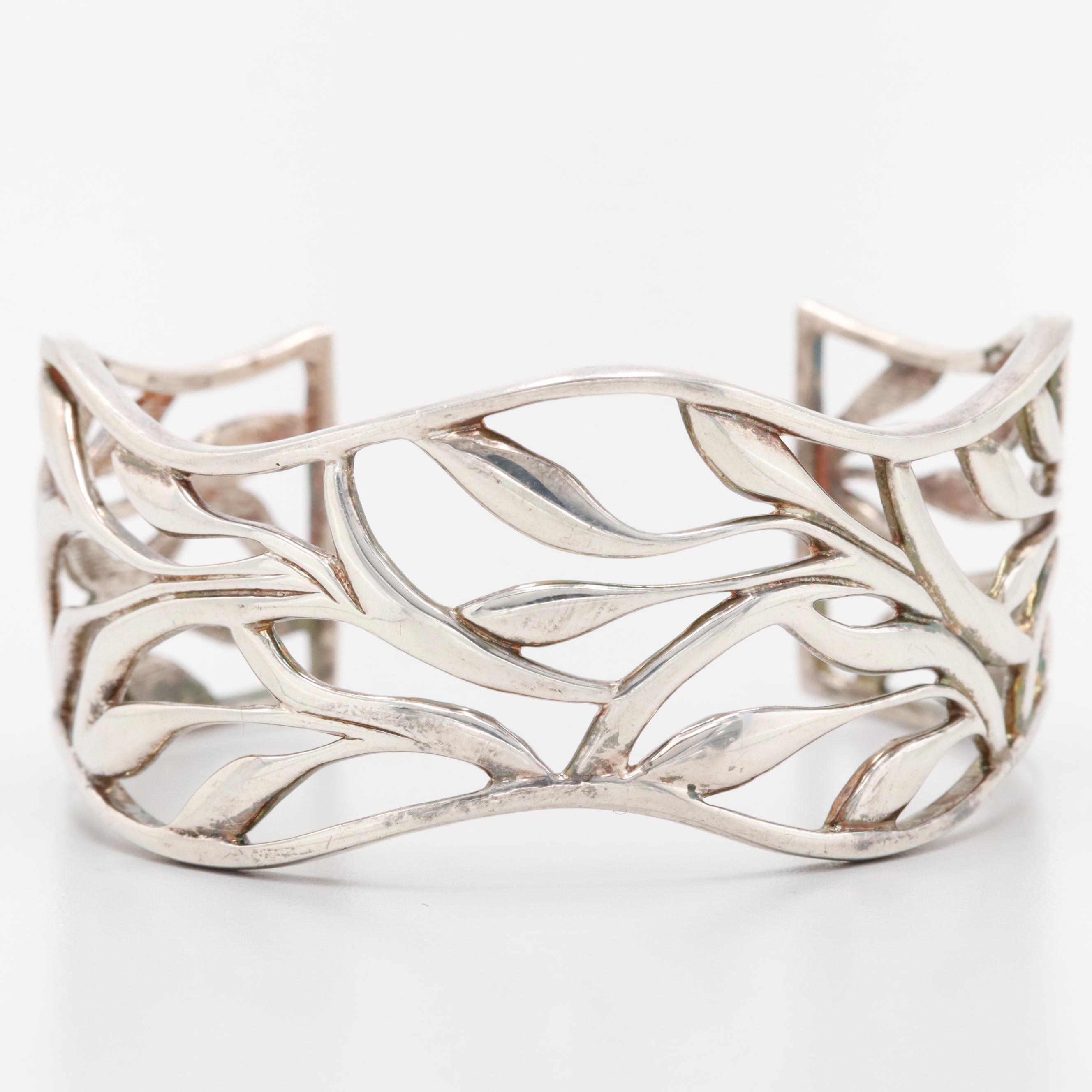 Sterling Silver Open Work Cuff Bracelet