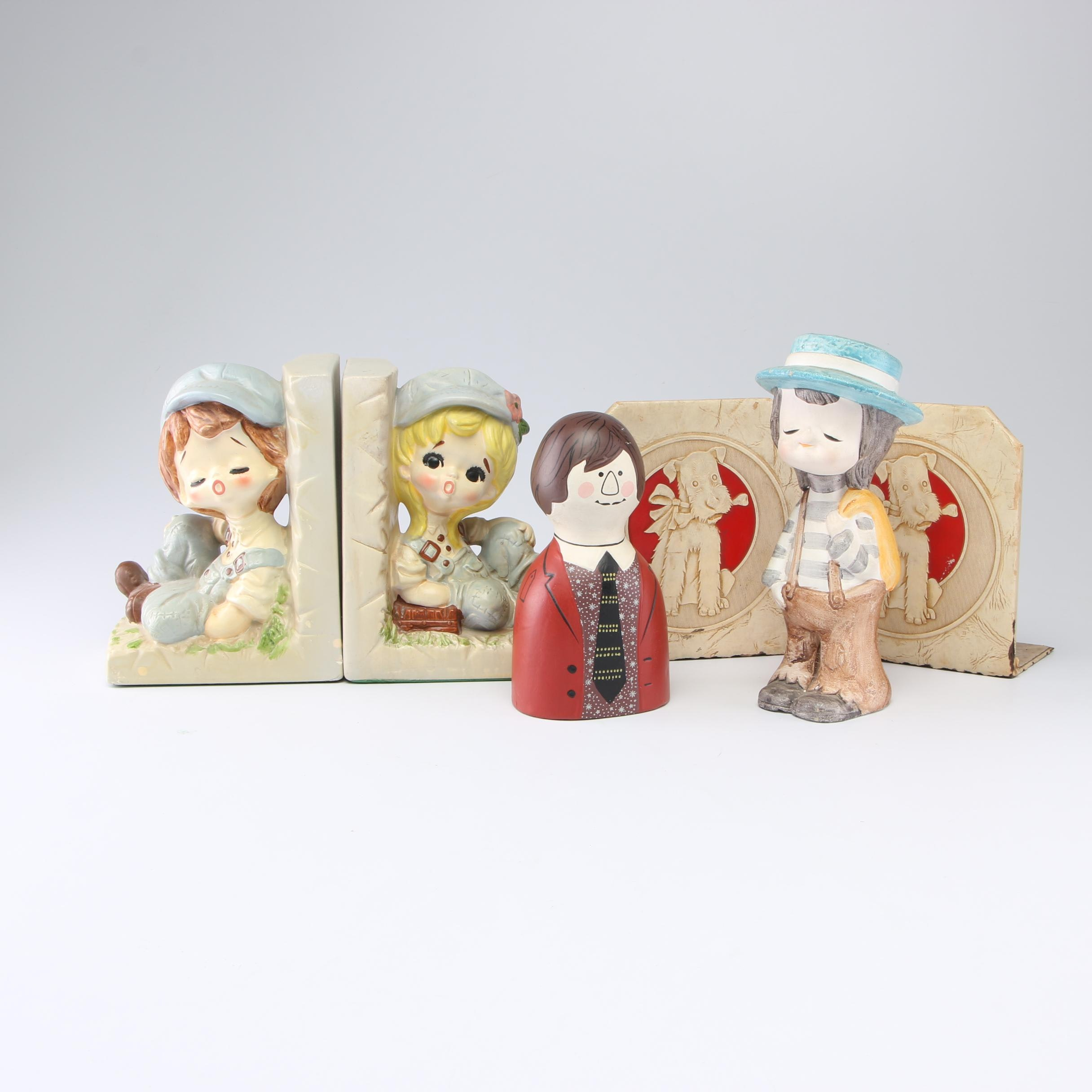 Vintage Children's Bookends and Figurines