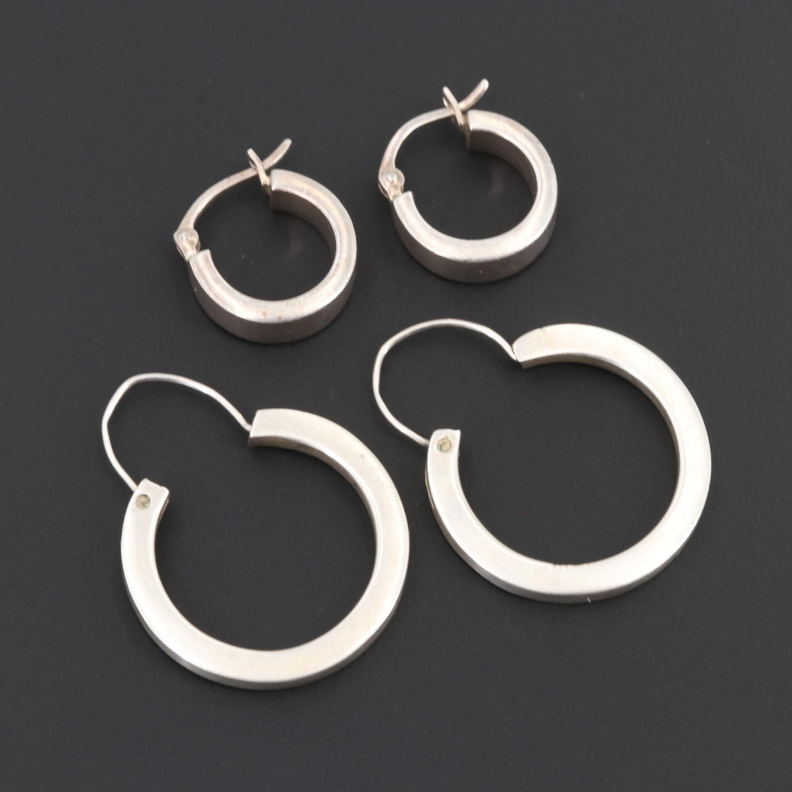 Sterling Silver Huggie and Taxco Hoop Earrings