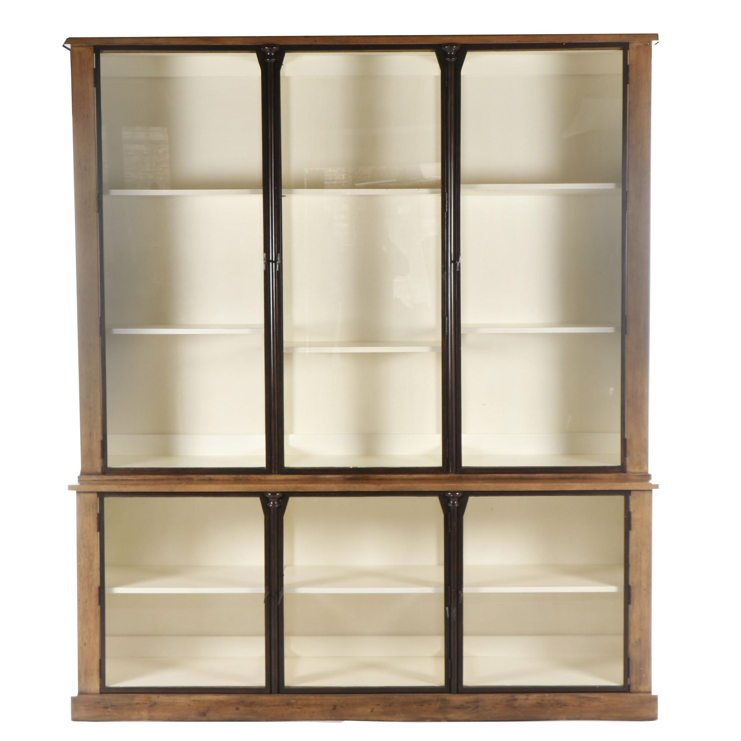 Large Contemporary Wooden Display Cabinet with Glass Doors