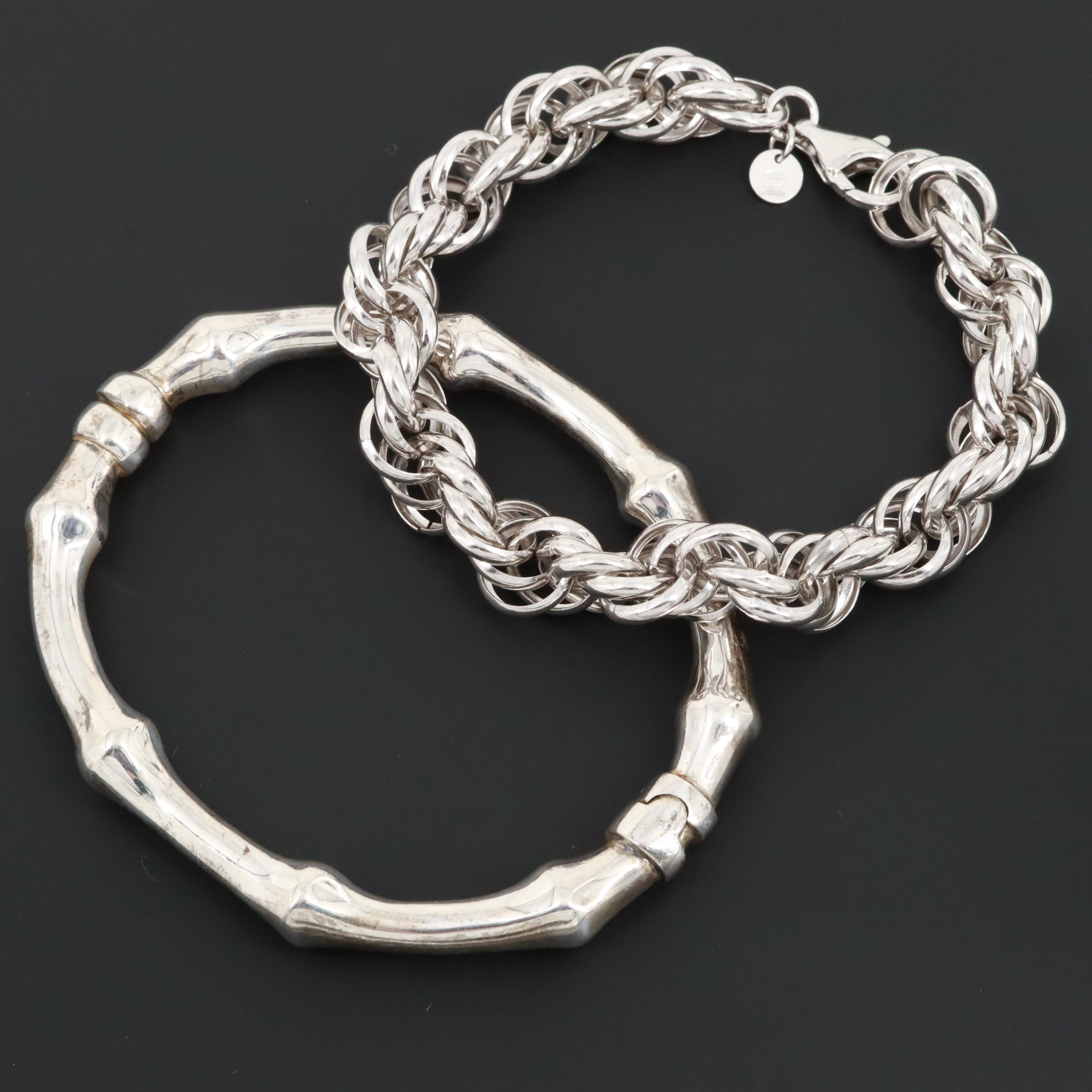 Sterling Silver Rope Bracelet and Hinged Bangle