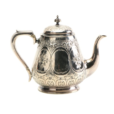 Martin Hall & Co. Chased Silver Plate Teapot, Late 19th/Early 20th Century