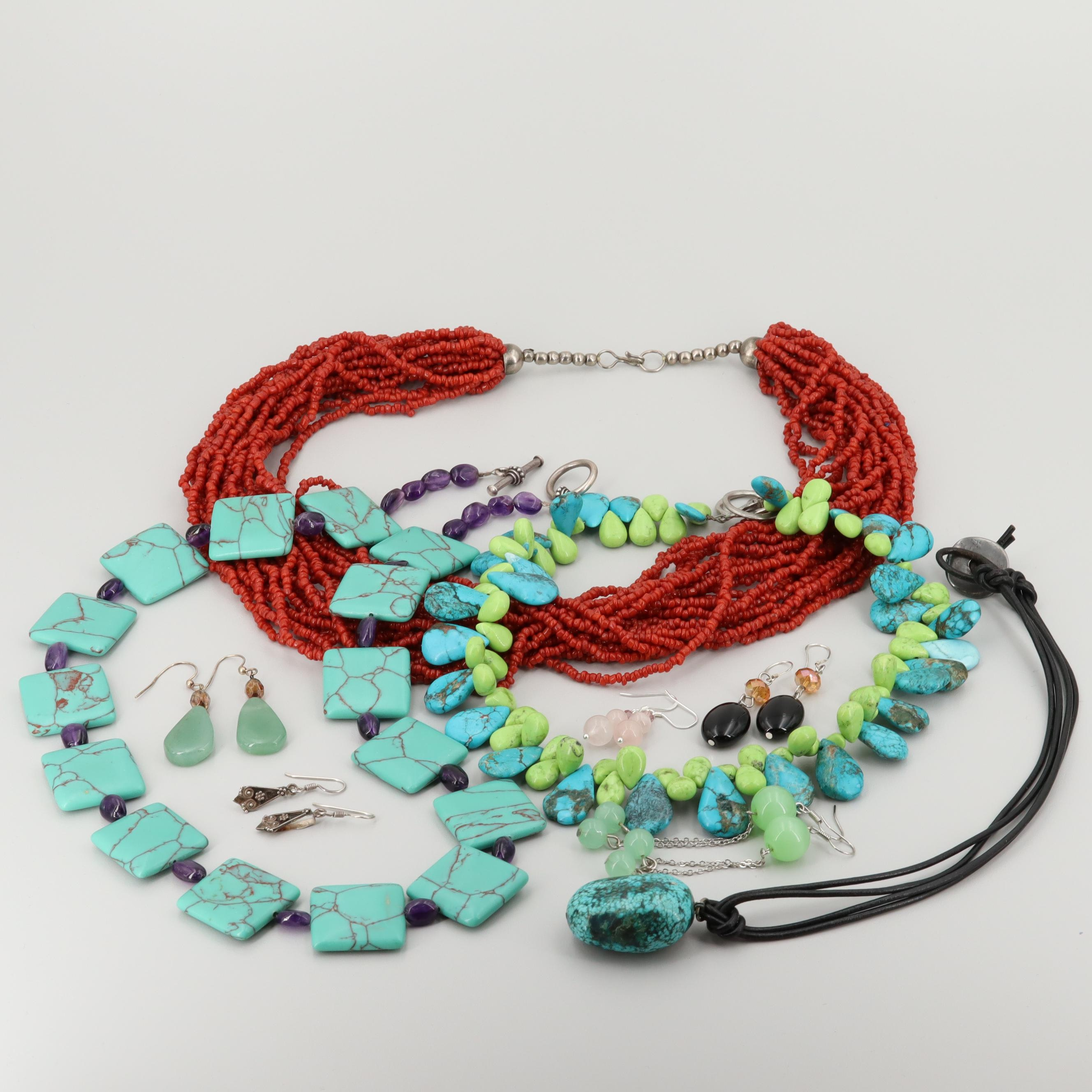 Sterling Silver and Silver Tone Necklaces and Earrings Including Chrysocolla