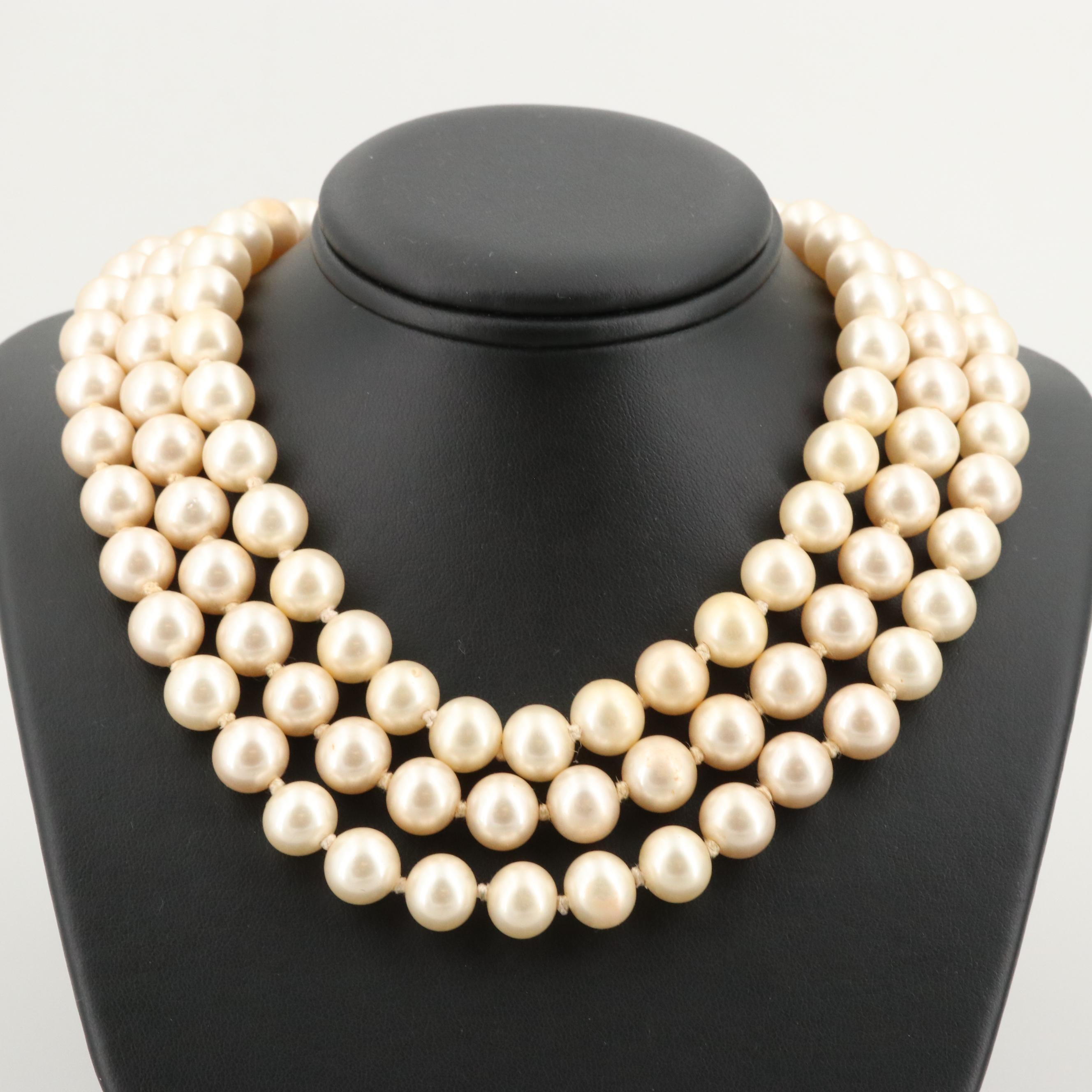 Ciner Silver Tone Triple Strand Glass and Imitation Pearl Necklace