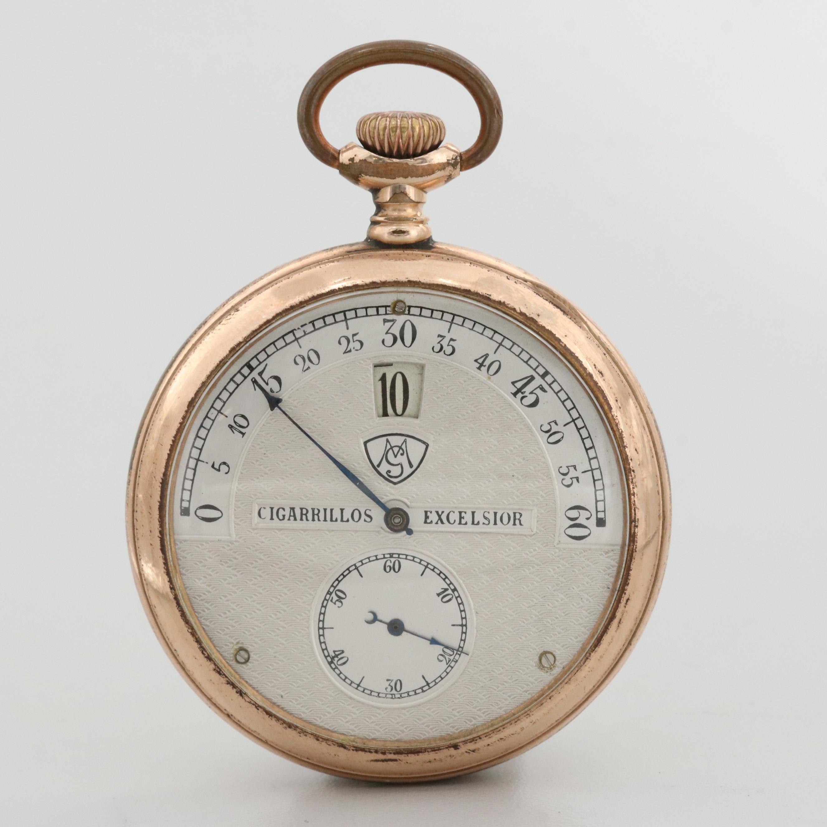 Vintage Modernista For Cigarrillos Excelsior Gold Filled Jump Hour Pocket Watch