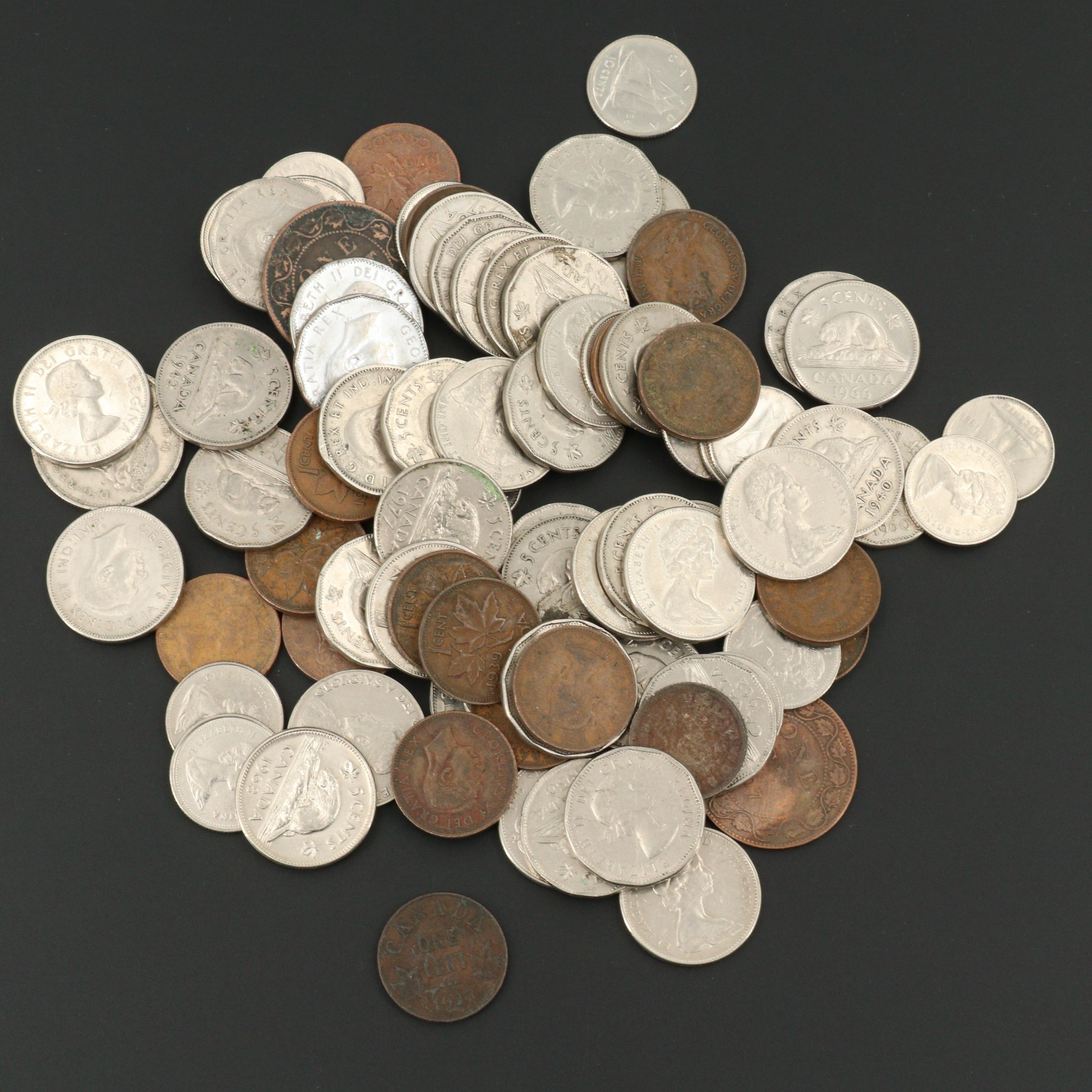 Eighty-Three Vintage Canadian Coins